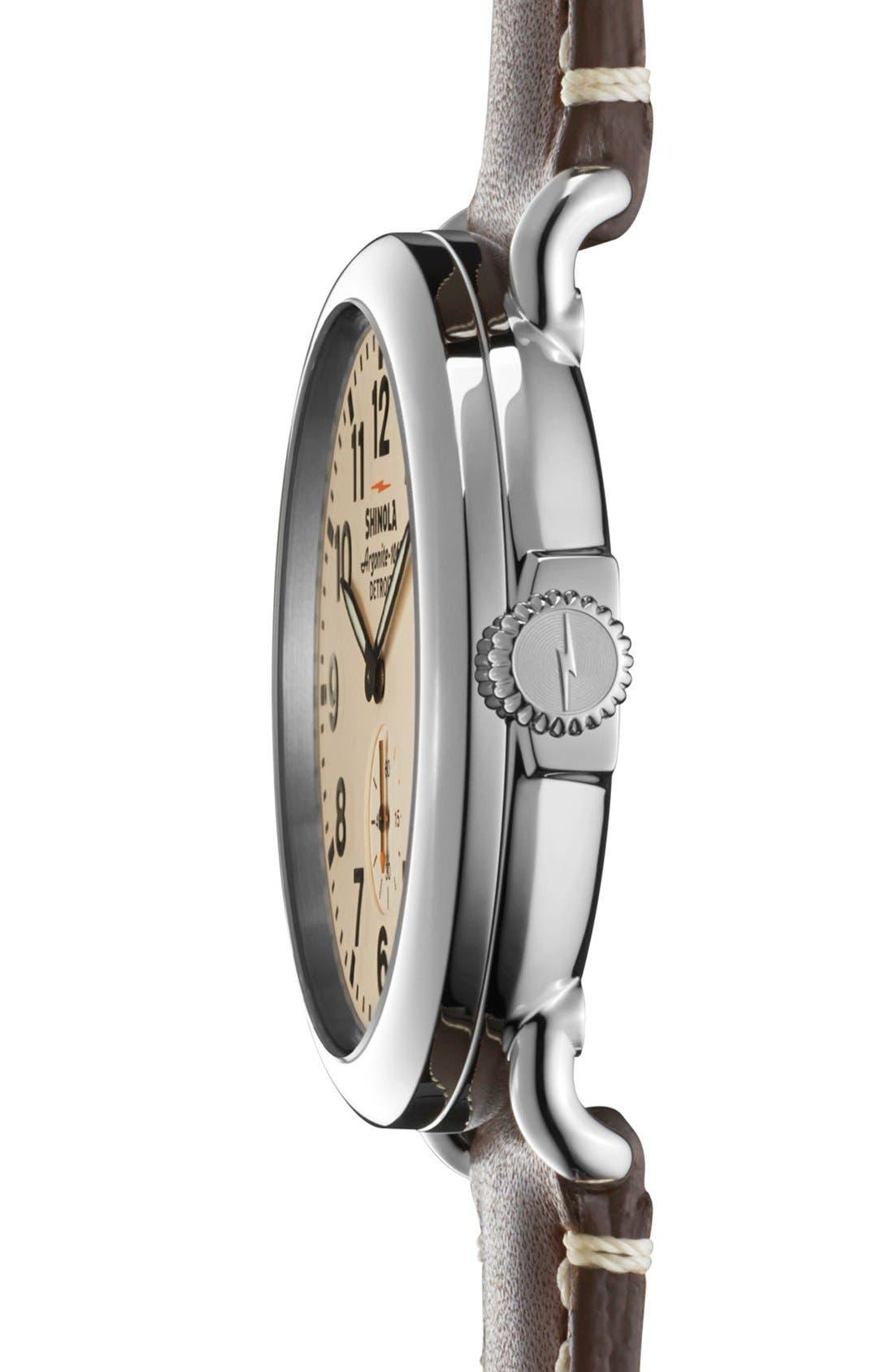 SHINOLA, 'The Runwell' Leather Strap Watch, 41mm, Alternate thumbnail 2, color, DARK COFFEE/ CREAM