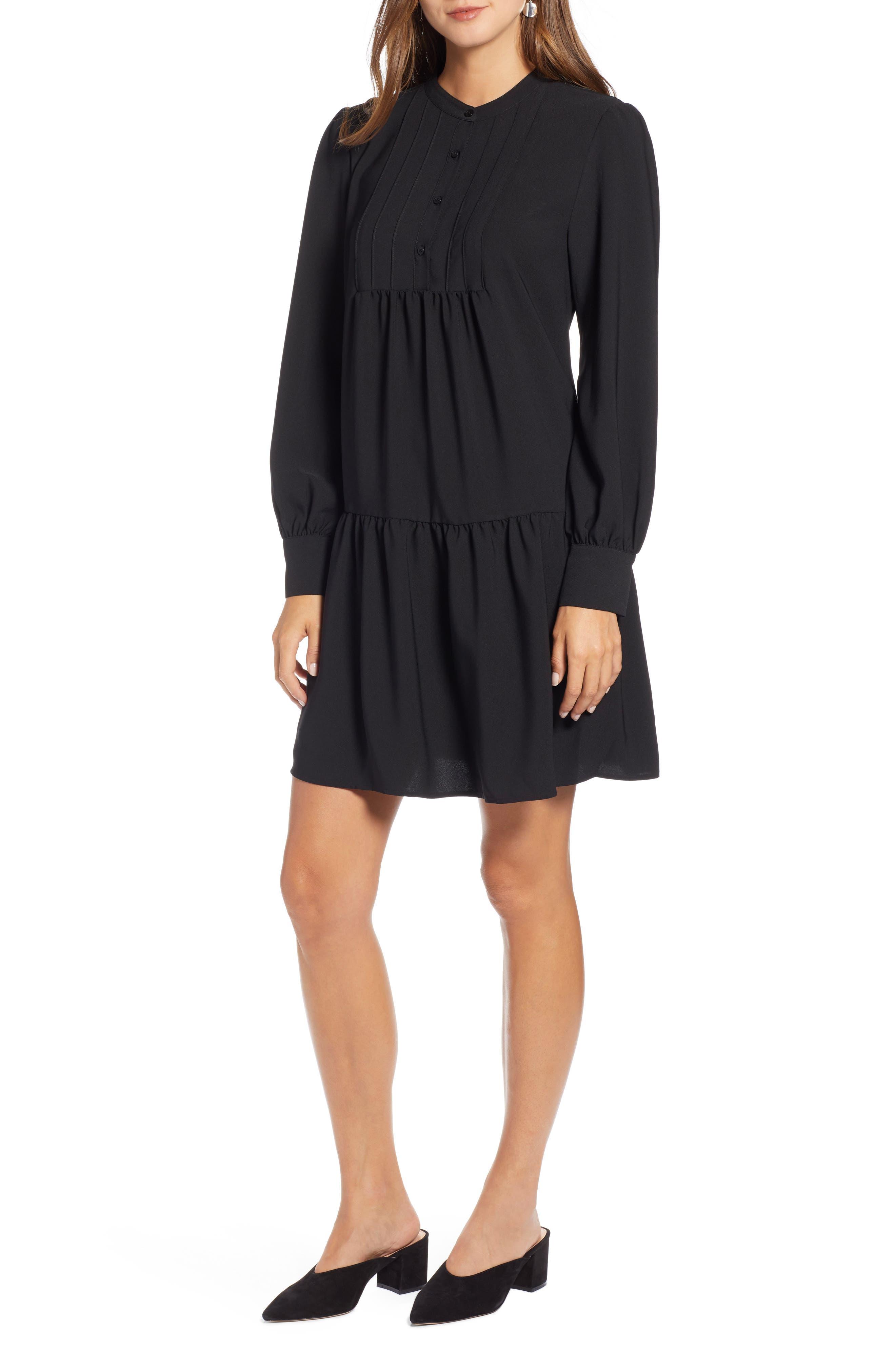 HALOGEN<SUP>®</SUP>, Pintuck Detail Shift Dress, Main thumbnail 1, color, BLACK