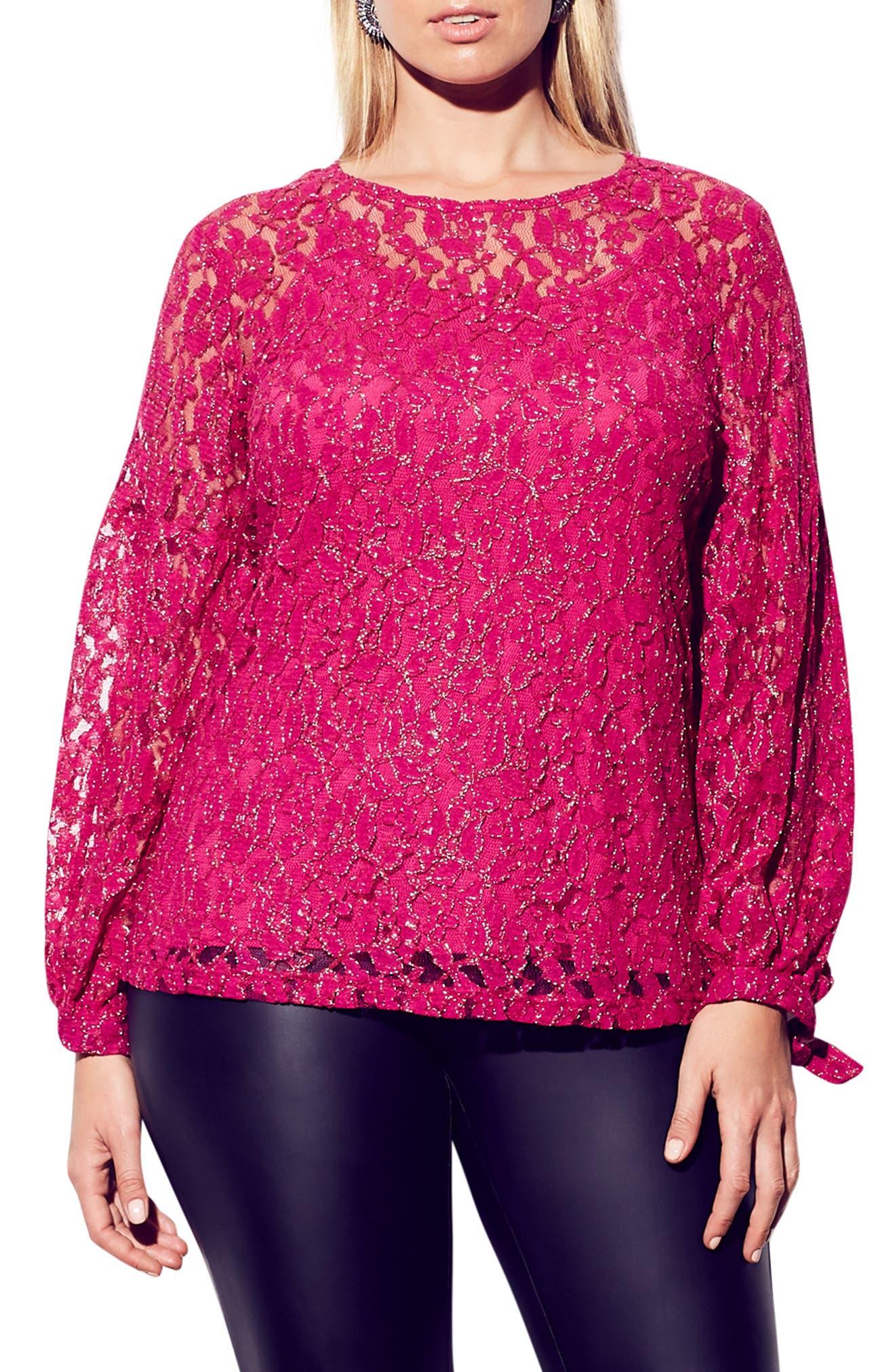 CITY CHIC Metallic Detail Cotton Blend Lace Blouse, Main, color, MAGENTA