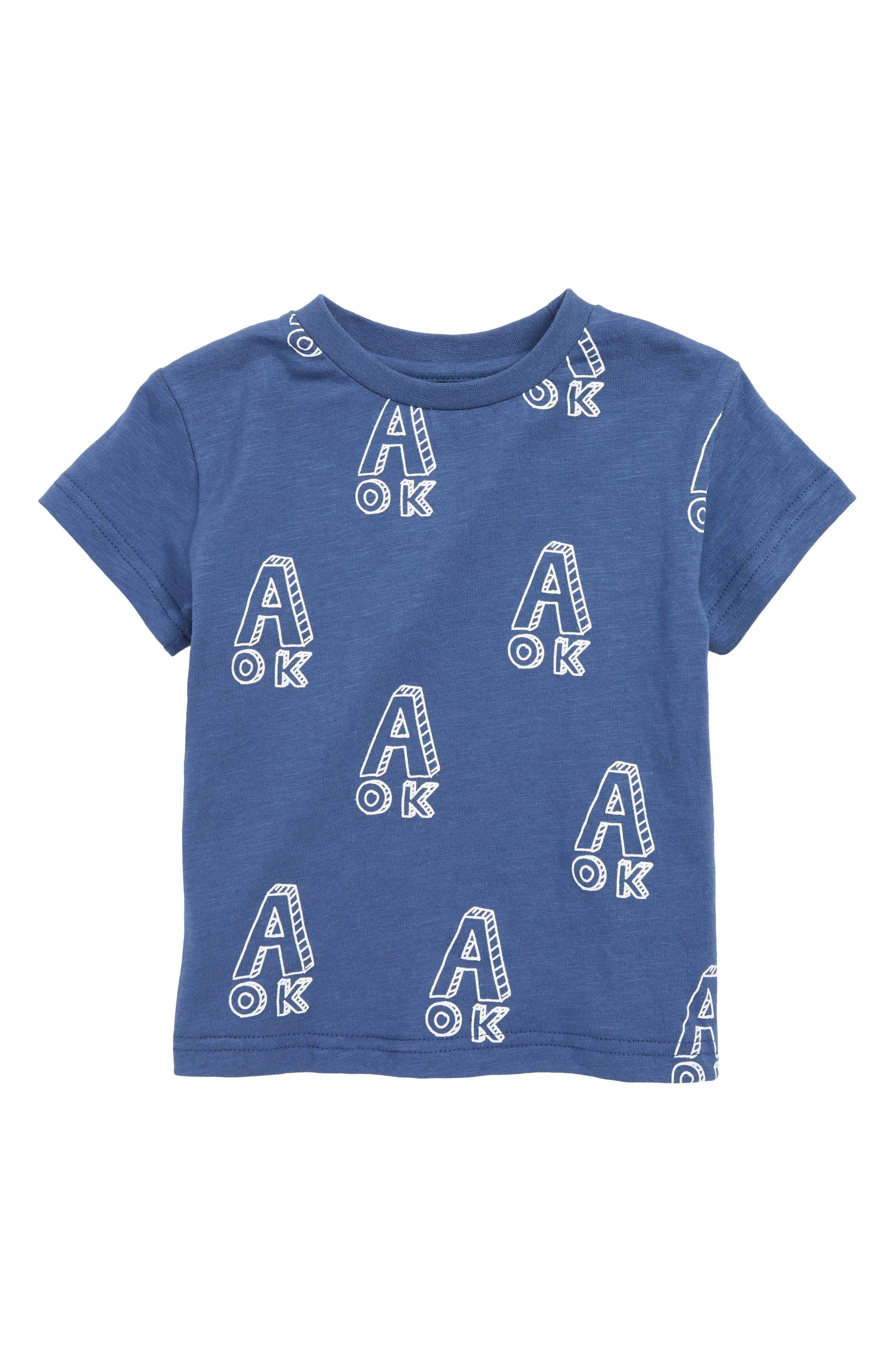 TINY TRIBE, A OK Print T-Shirt, Main thumbnail 1, color, NAVY