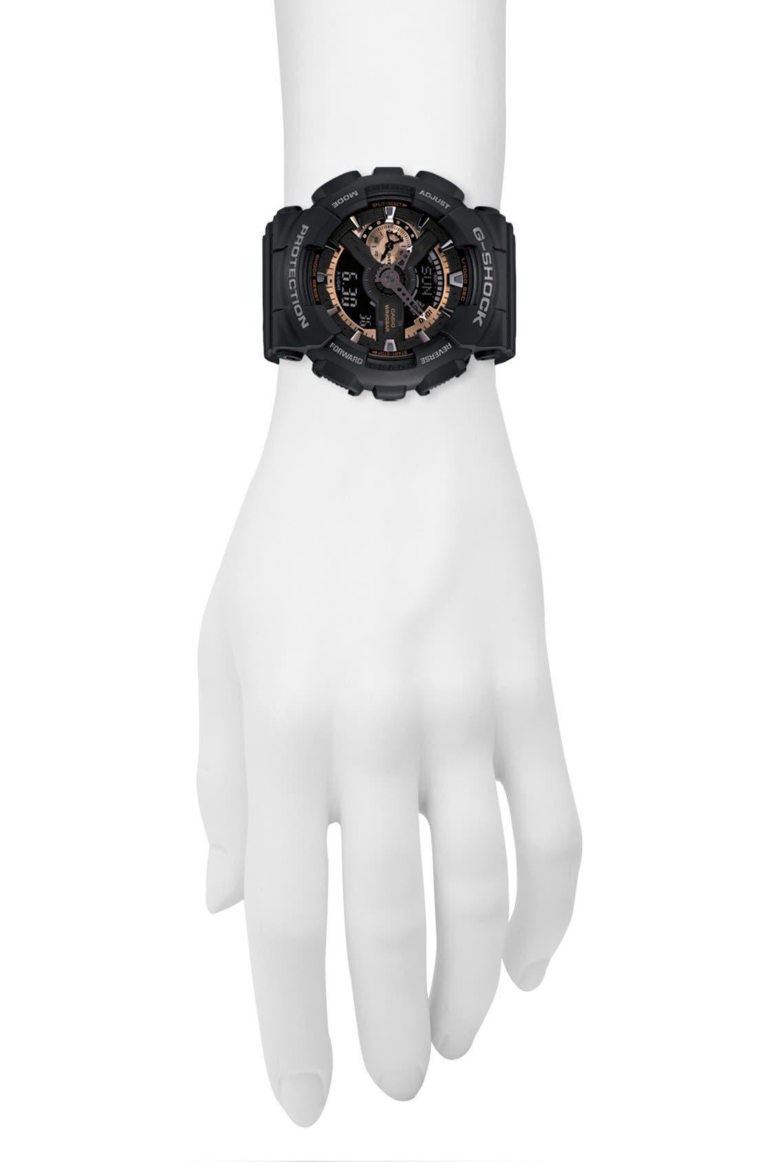 G-SHOCK BABY-G, G-Shock 'X-Large' Rose Gold Dial Watch, 55mm, Alternate thumbnail 6, color, BLACK/ ROSEGOLD