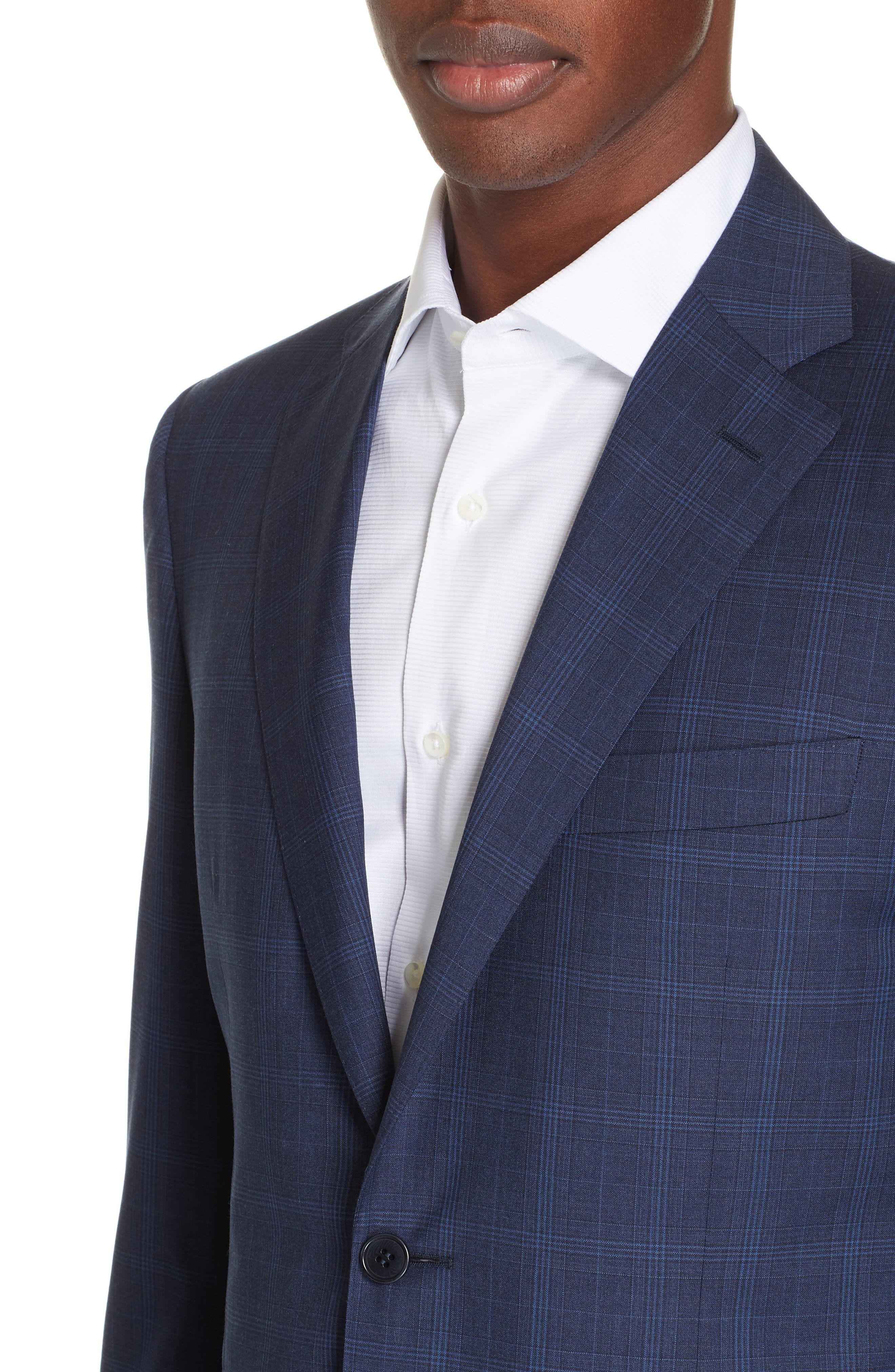 CANALI, Sienna Classic Fit Plaid Wool Suit, Alternate thumbnail 4, color, NAVY