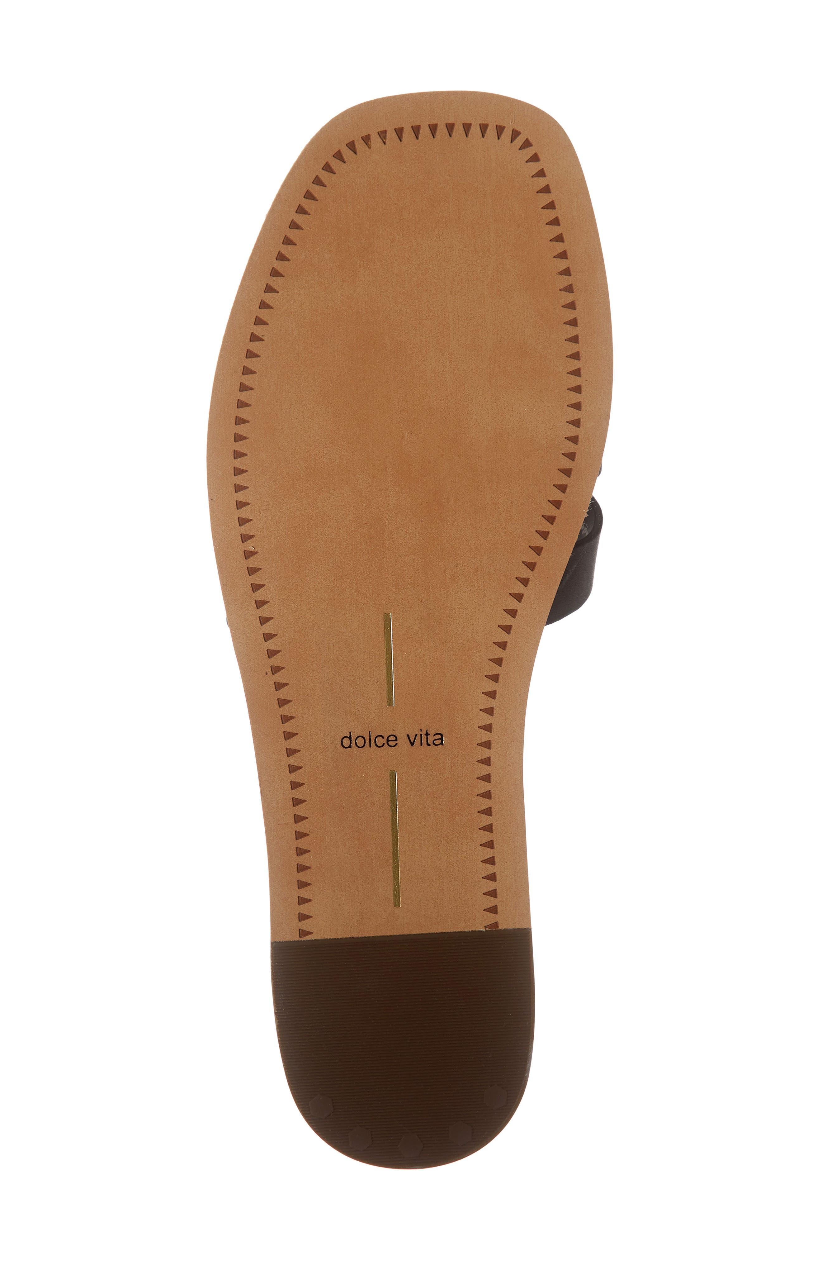 DOLCE VITA, Cait Slide Sandal, Alternate thumbnail 6, color, BLACK LEATHER