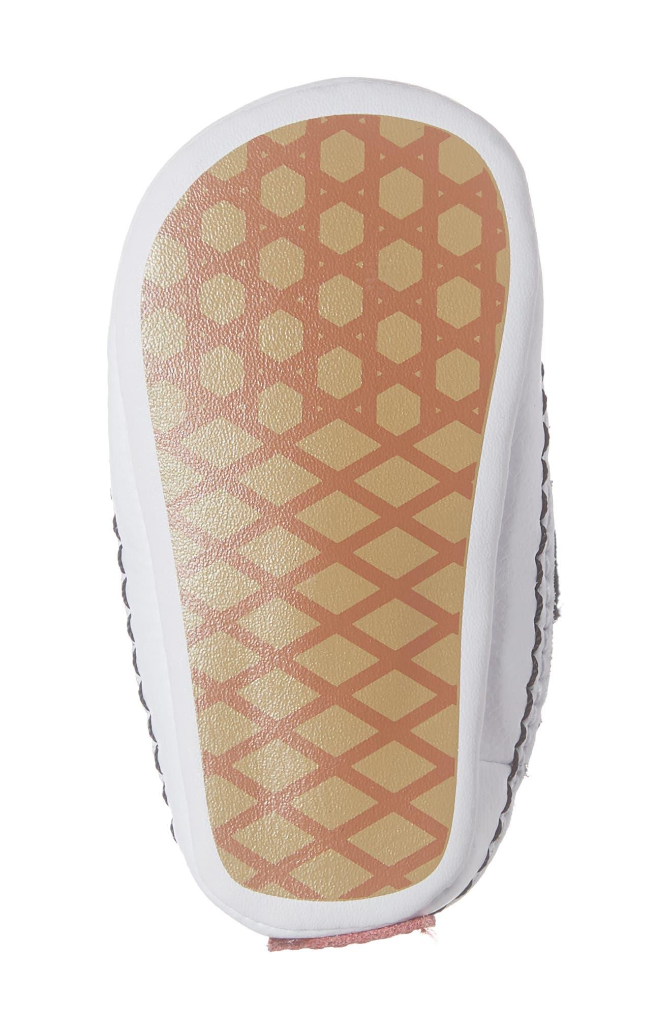 VANS, 'SK8-Hi' Crib Sneaker, Alternate thumbnail 6, color, BLACK/TRUE WHITE