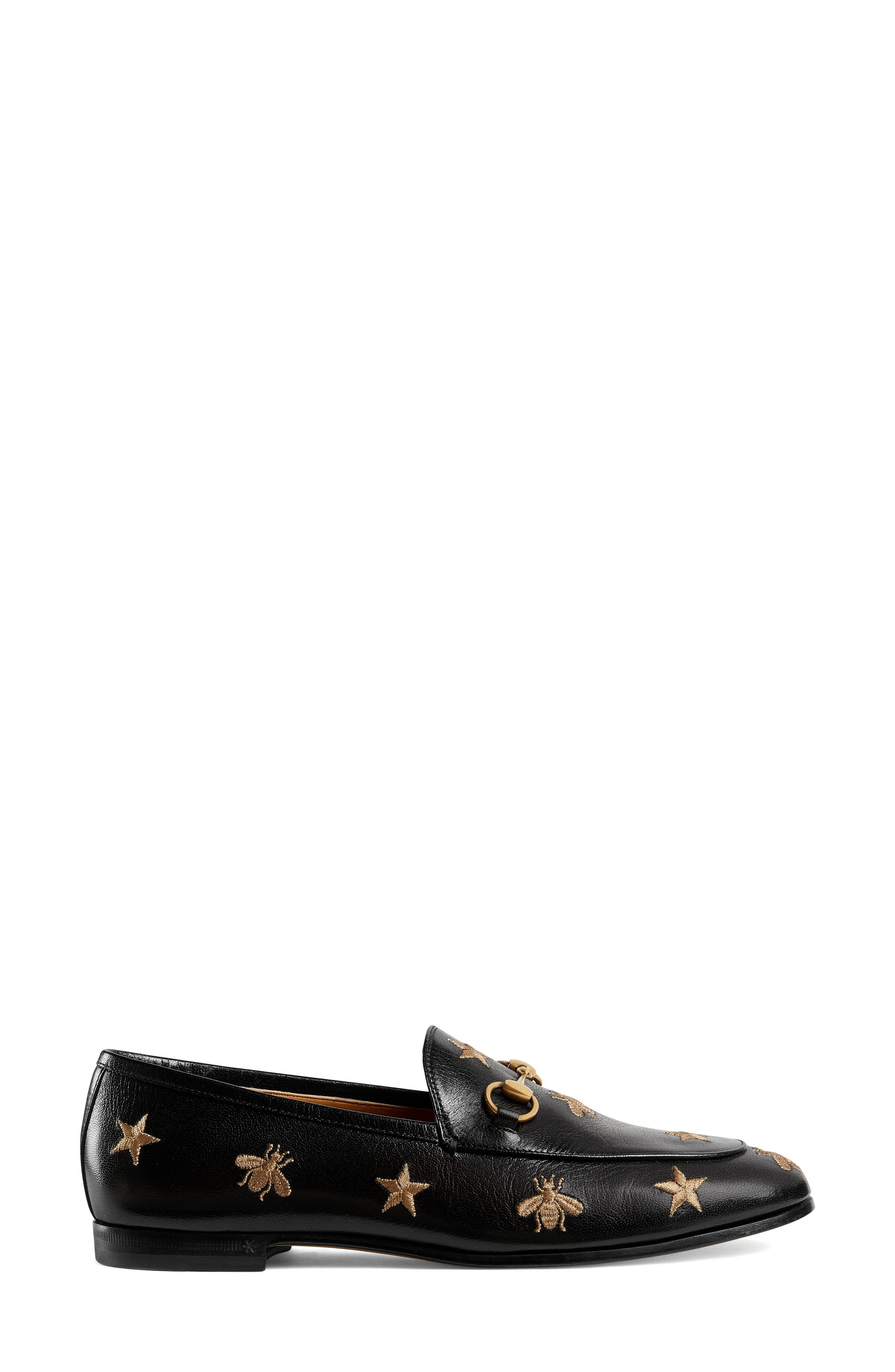 GUCCI, Jordaan Embroidered Bee Loafer, Alternate thumbnail 2, color, BLACK