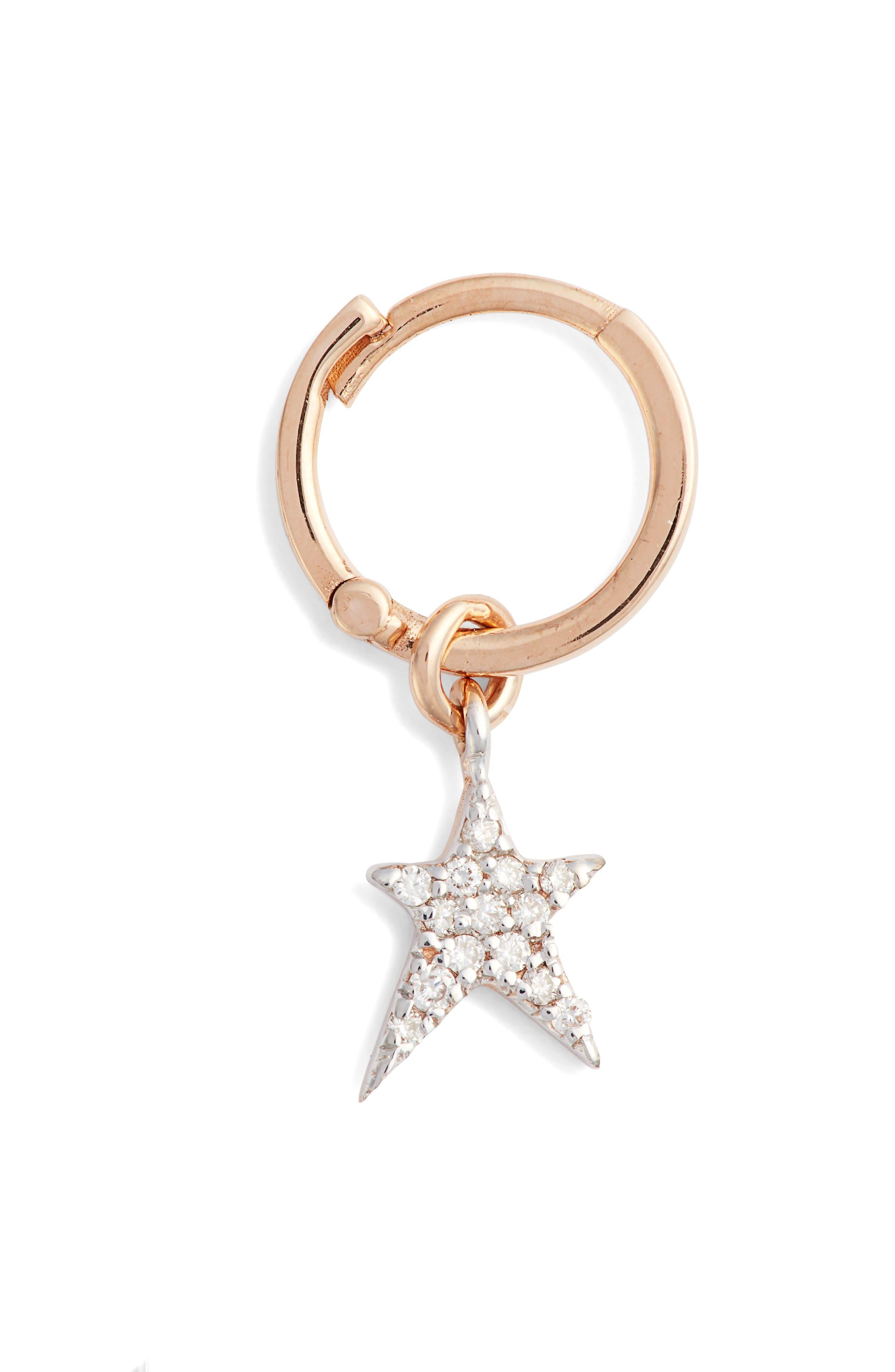 KISMET BY MILKA, Diamond Starstruck Small Hoop Earring, Main thumbnail 1, color, ROSE GOLD
