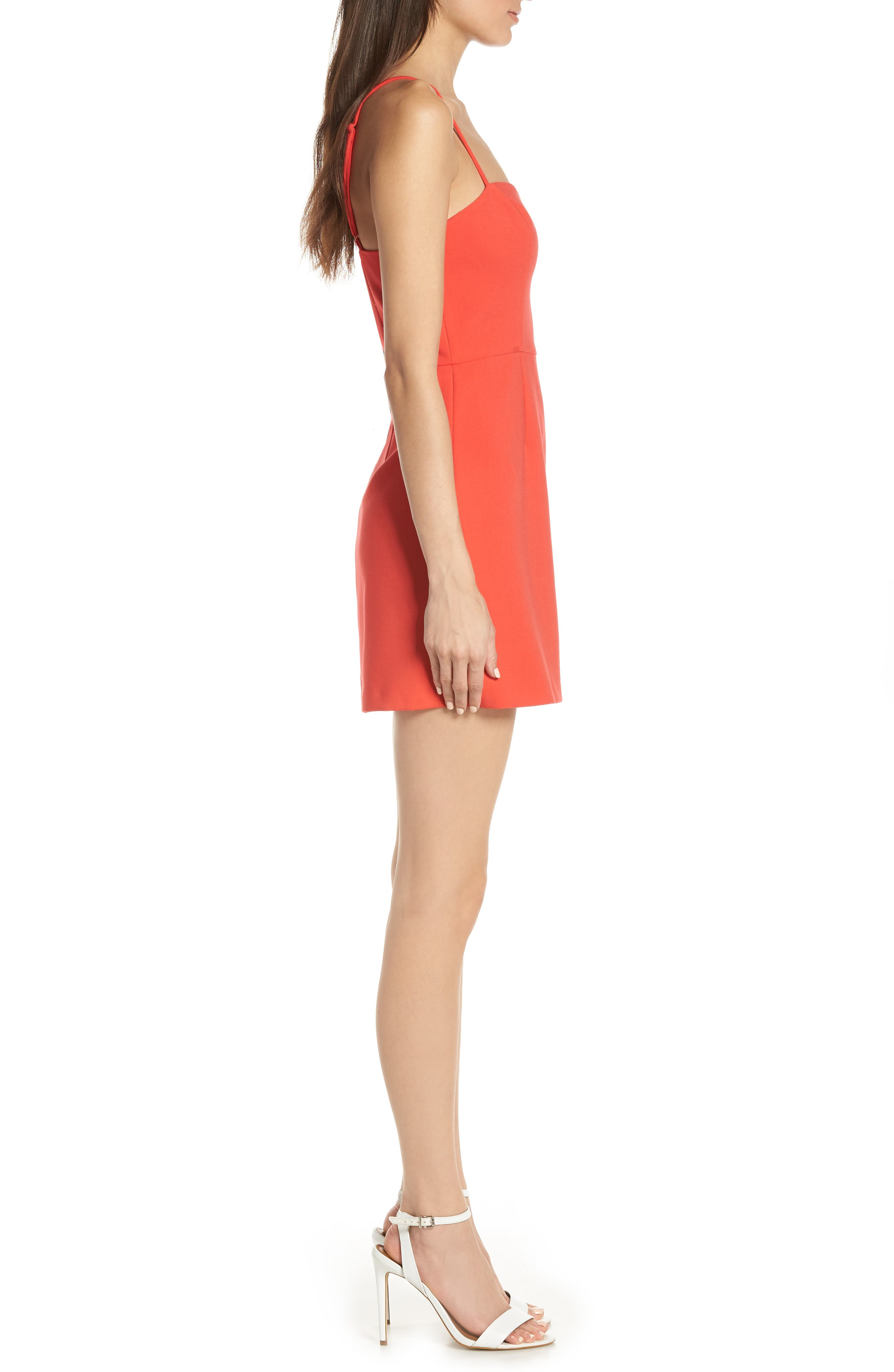FRENCH CONNECTION, Whisper Light Sweetheart Minidress, Alternate thumbnail 4, color, FIRE CORAL