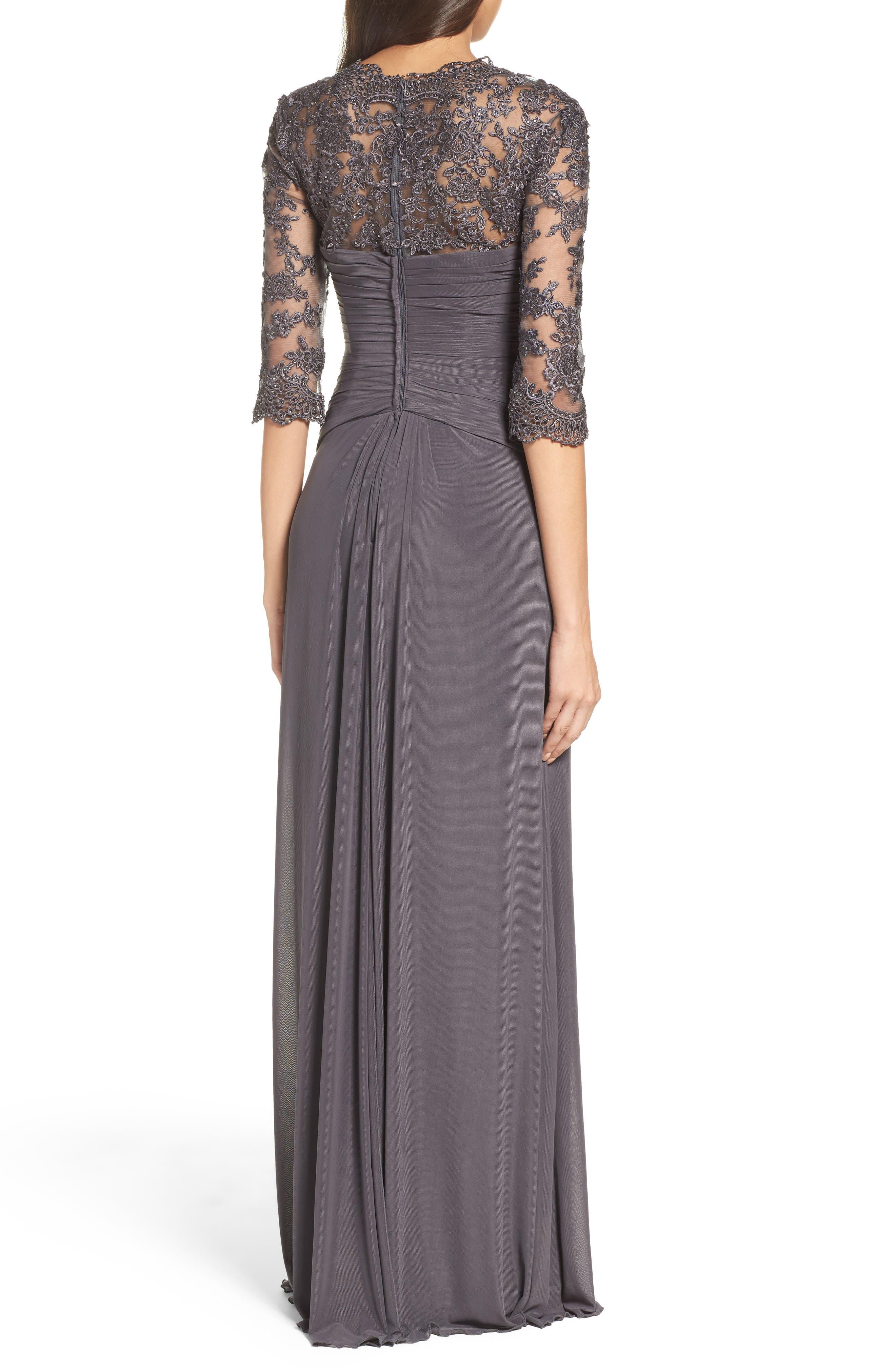 LA FEMME, Lace & Net Ruched Twist Front Gown, Alternate thumbnail 2, color, GUNMETAL