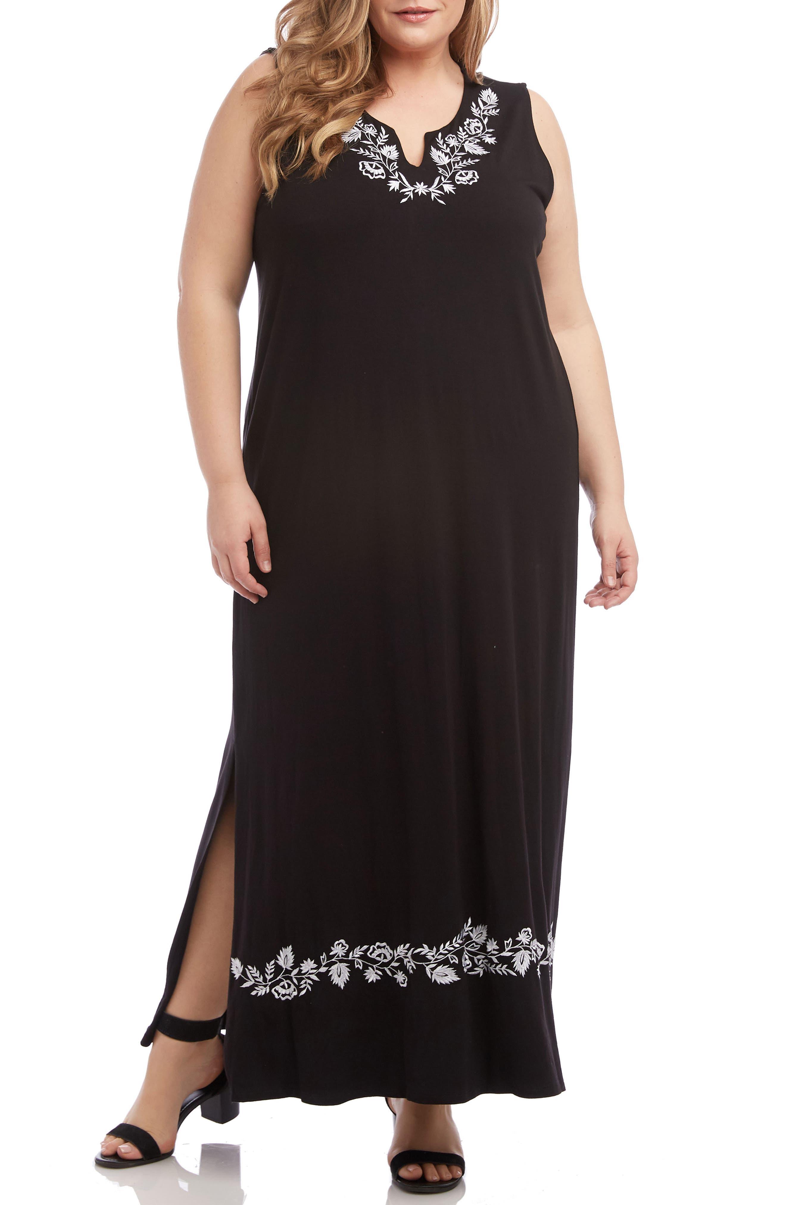 KAREN KANE, Embroidered Maxi Dress, Main thumbnail 1, color, BLACK