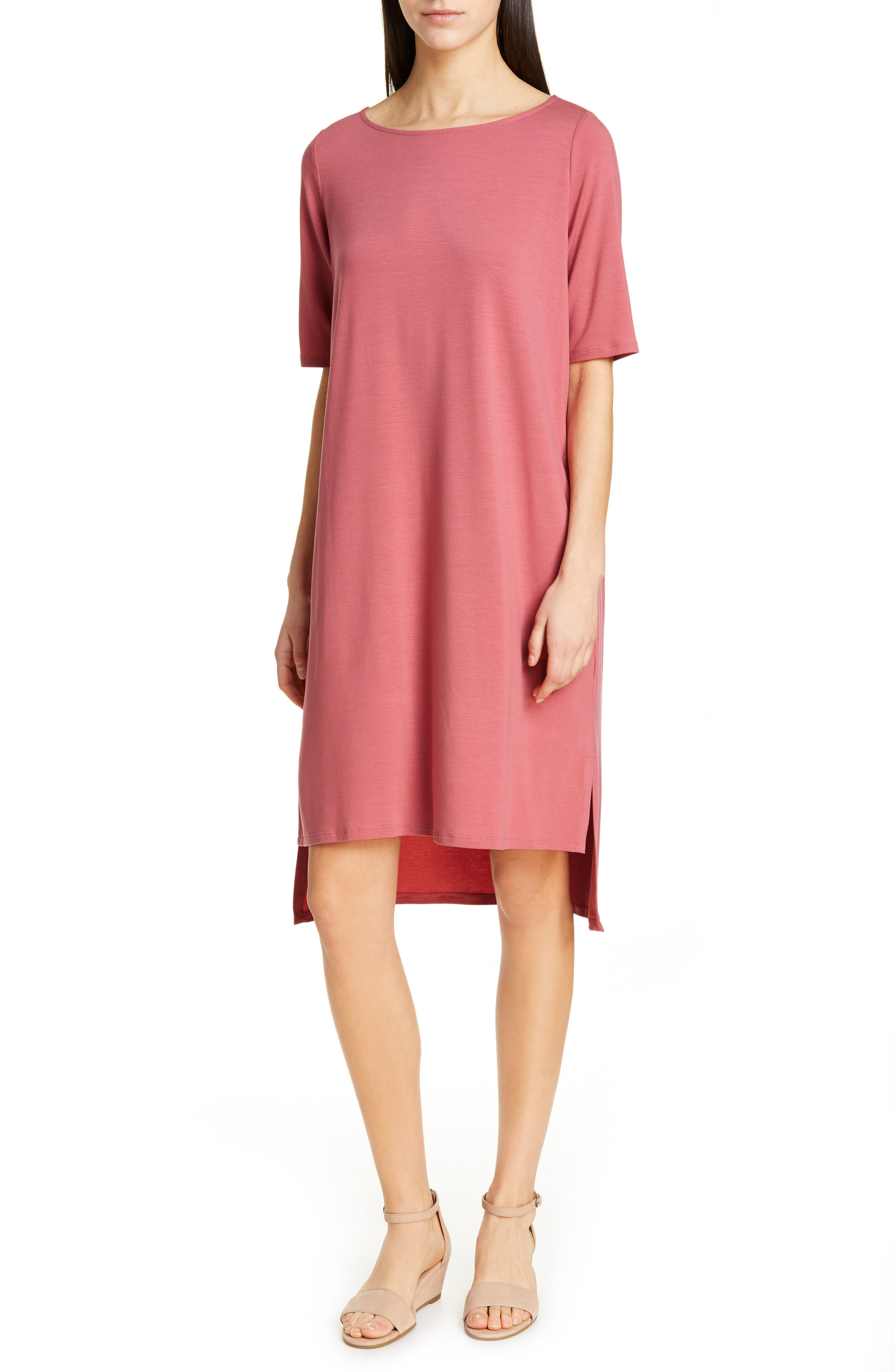 Petite Eileen Fisher High/low Shift Dress, Pink