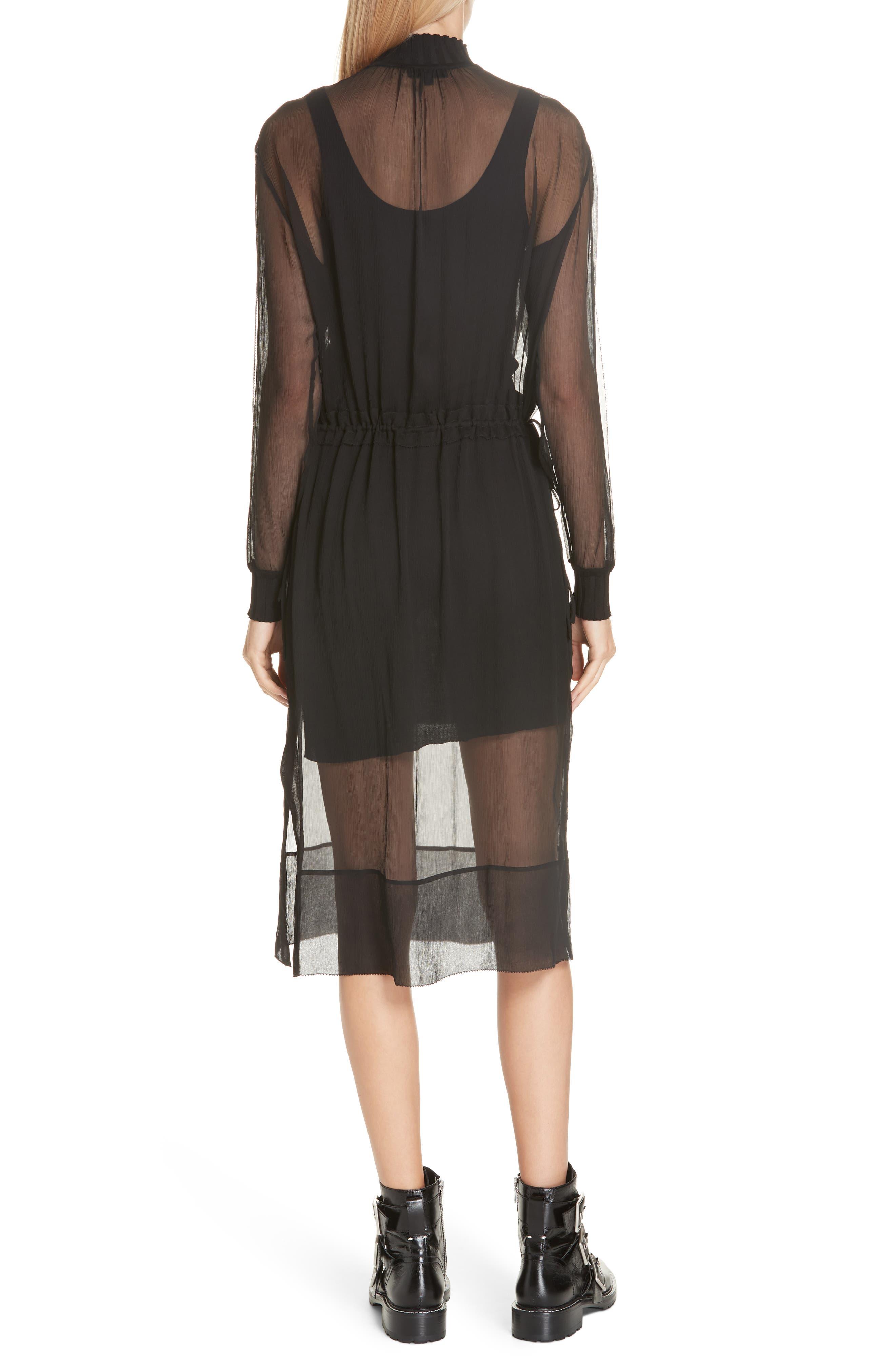 RAG & BONE, Dinah Silk Dress, Alternate thumbnail 2, color, 001