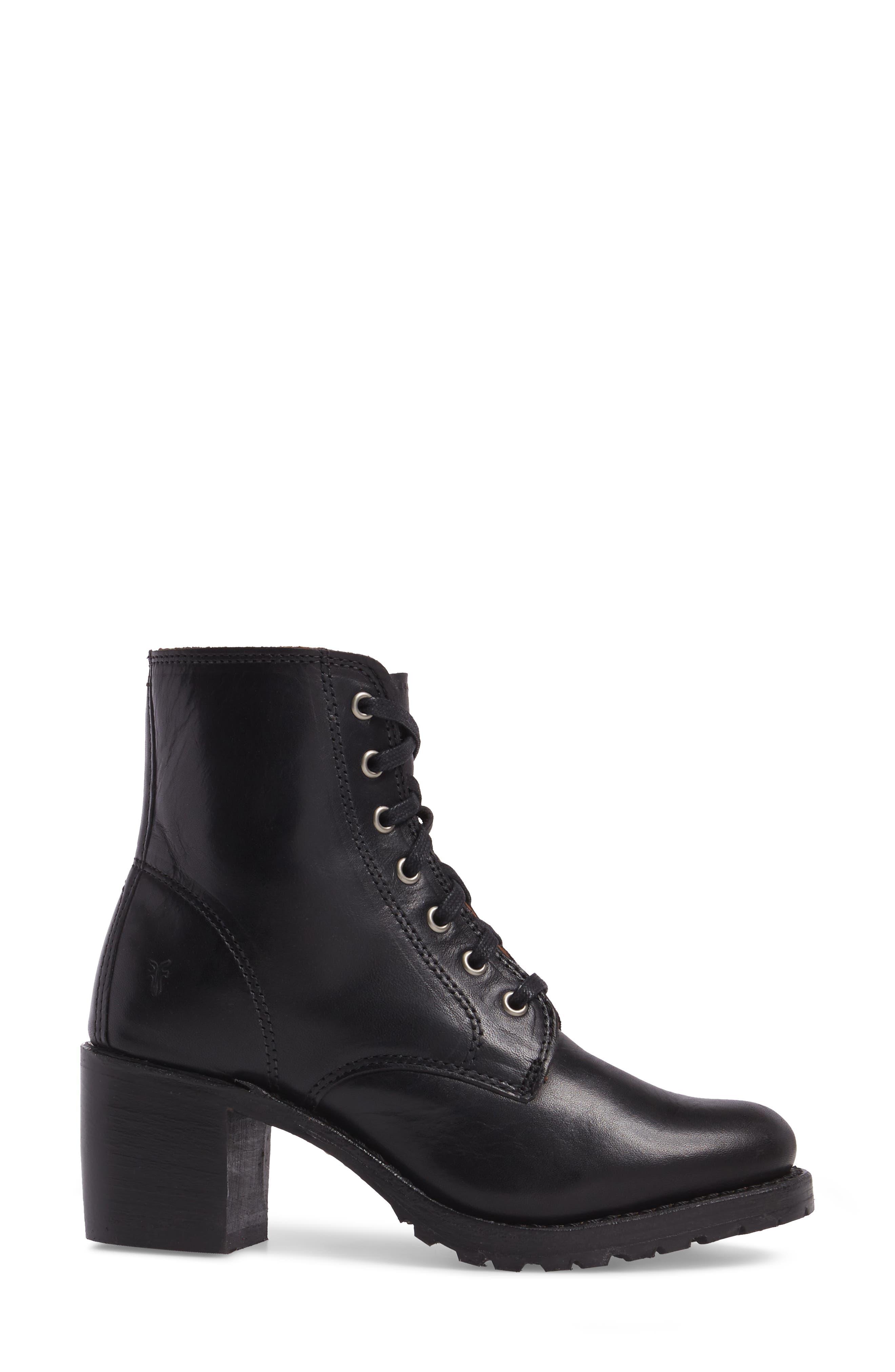 FRYE, Sabrina 6G Lace-Up Boot, Alternate thumbnail 3, color, BLACK