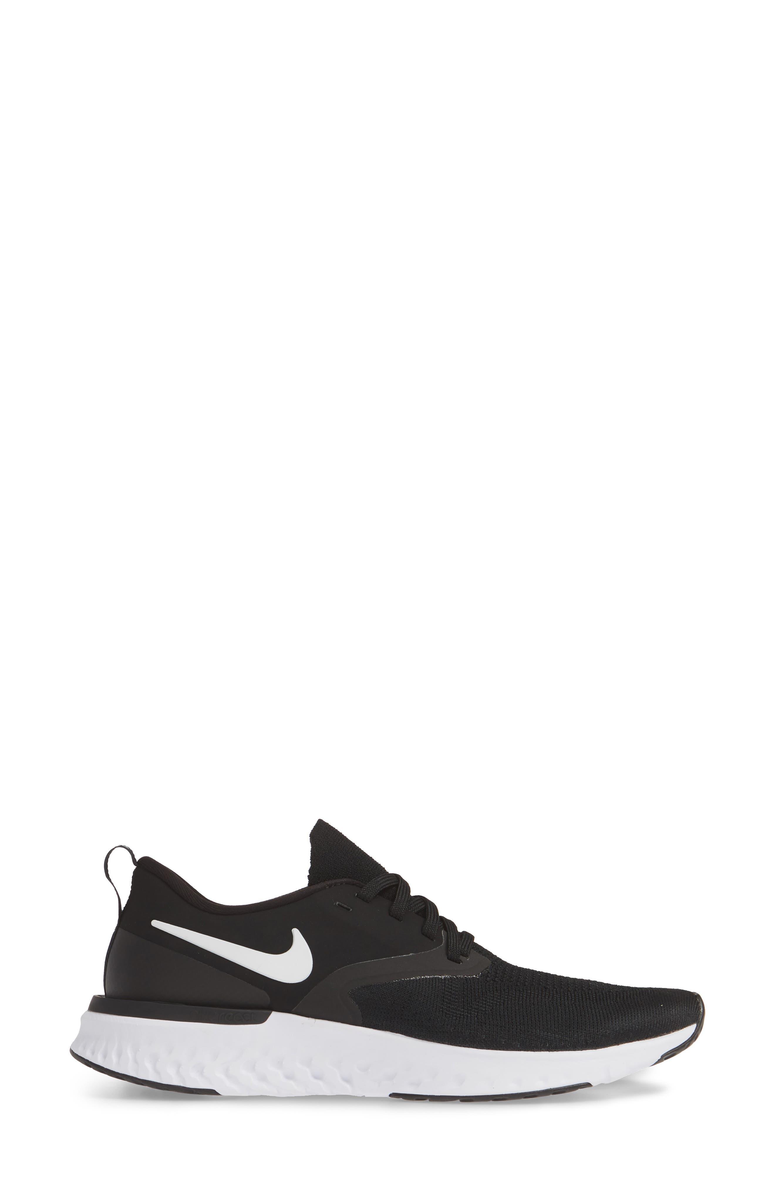 NIKE, Odyssey React 2 Flyknit Running Shoe, Alternate thumbnail 3, color, BLACK/ WHITE