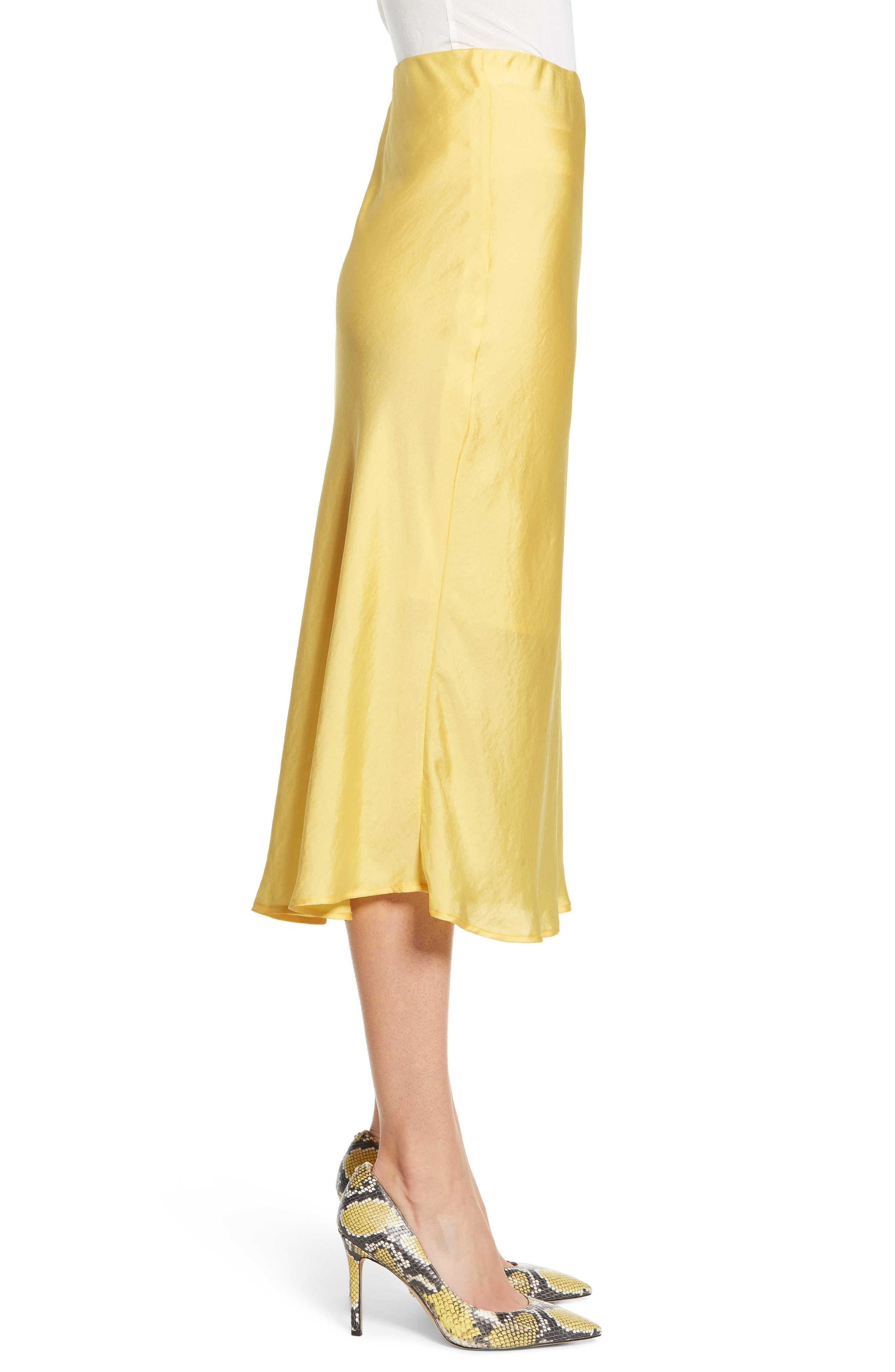 LEITH, Satin Midi Skirt, Alternate thumbnail 3, color, YELLOW MERINGUE