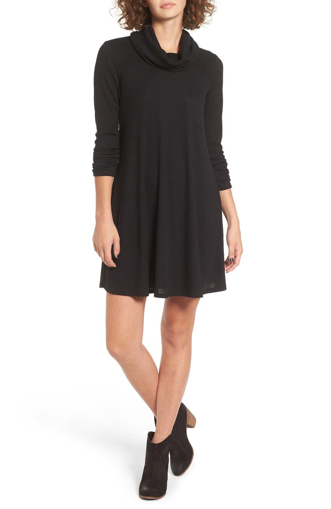 SOCIALITE Maddie Rib Knit Cowl Shift Dress, Main, color, 001