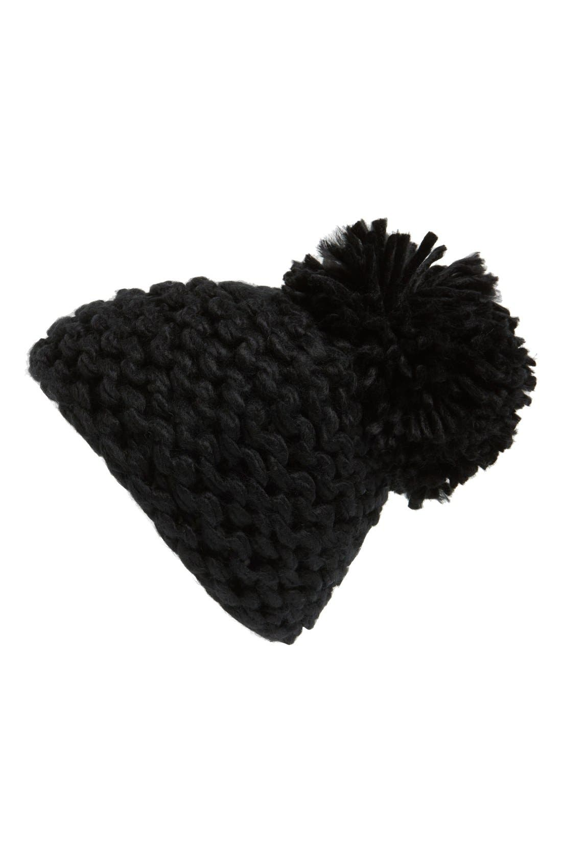 BCBGENERATION, Knit Pompom Beanie, Main thumbnail 1, color, 001