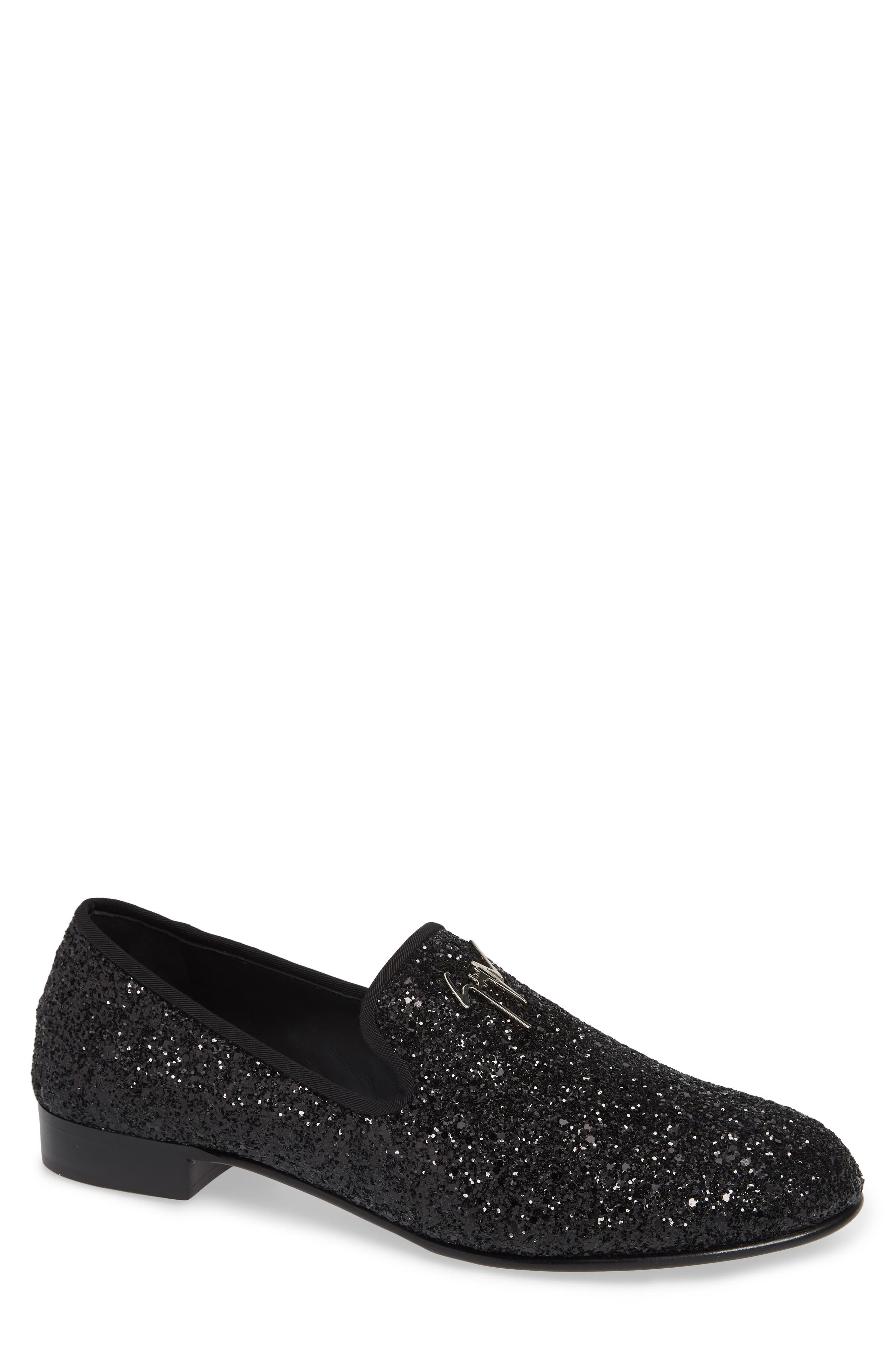 GIUSEPPE ZANOTTI, Glitter Encrusted Smoking Slipper, Main thumbnail 1, color, BLACK
