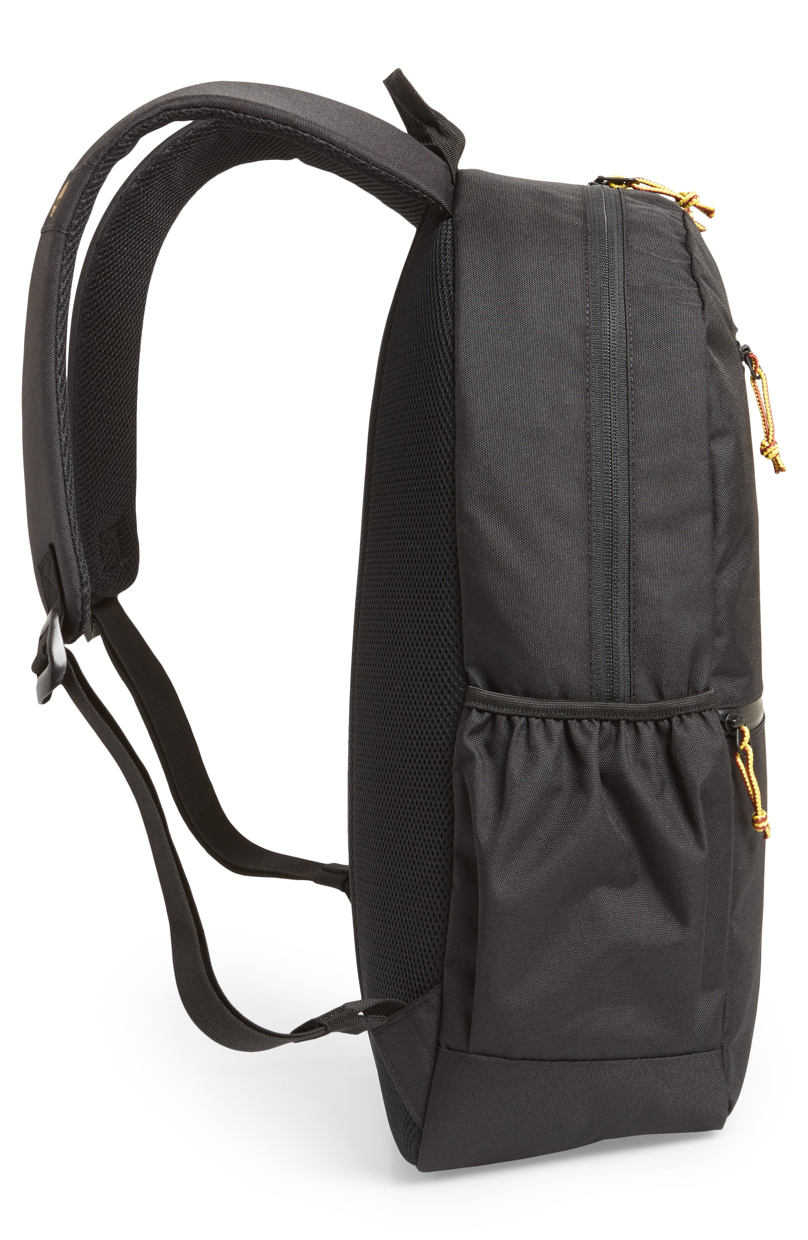 TIMBERLAND, Logo Graphic Water Resistant Backpack, Alternate thumbnail 5, color, BLACK