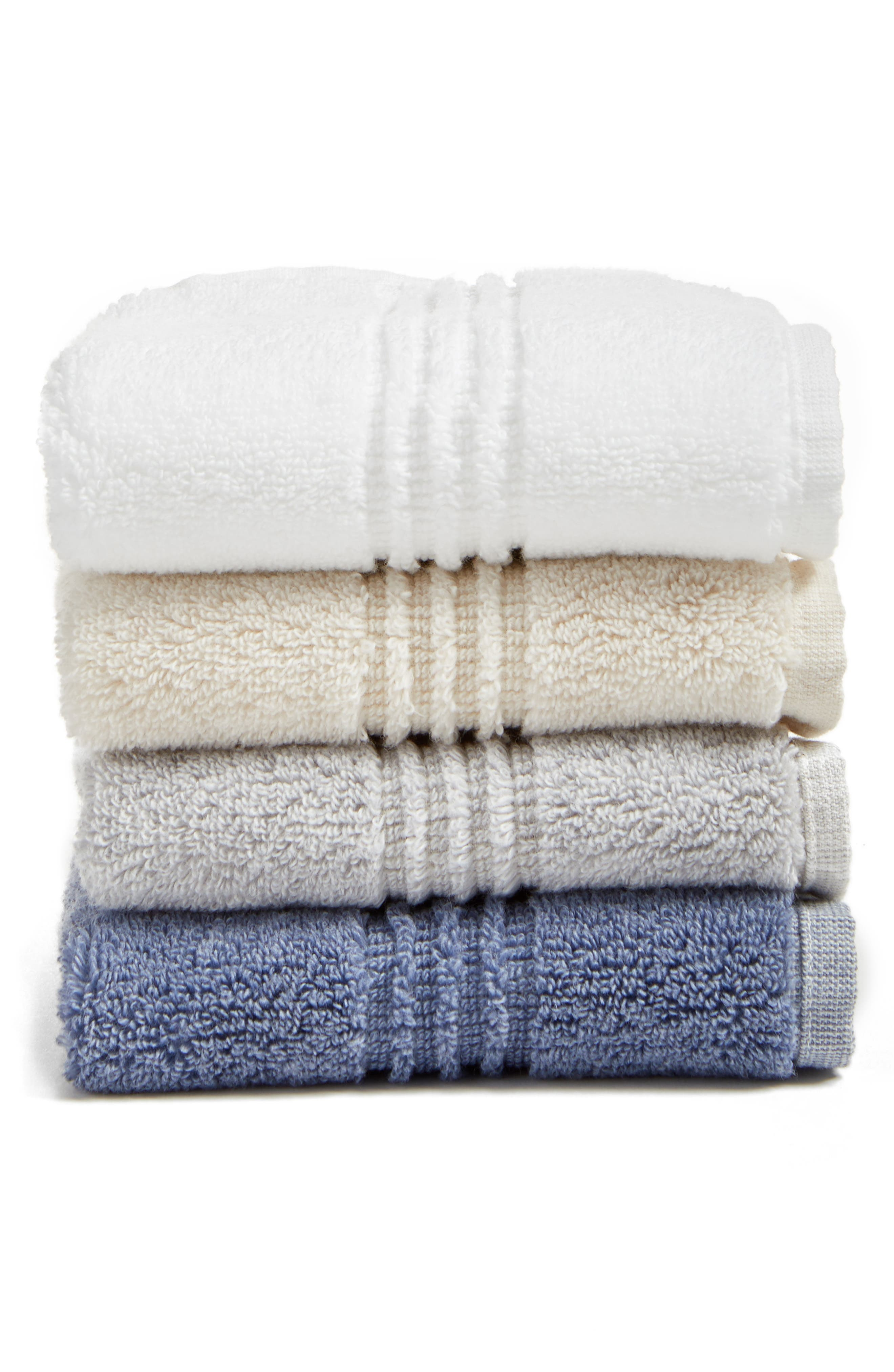 NORDSTROM AT HOME, Organic Hydrocotton Heathered Hand Towel, Alternate thumbnail 2, color, WHITE