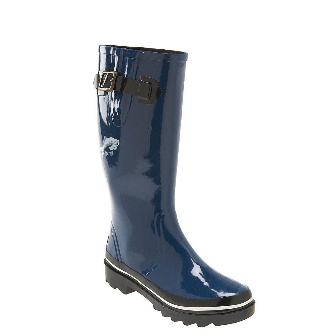 KATE SPADE NEW YORK kate spade 'riley' red daisy rain boot, Main, color, BLU