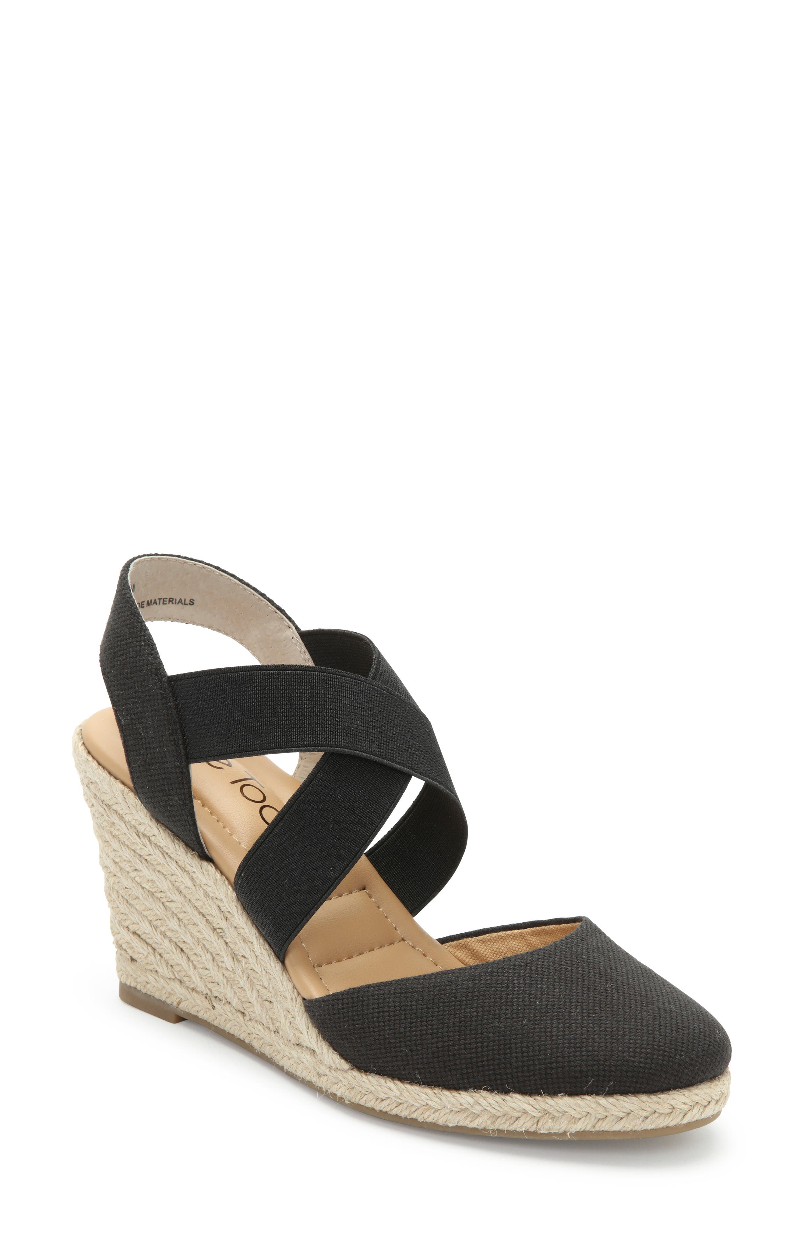 ME TOO Brinley Espadrille Wedge, Main, color, BLACK CANVAS