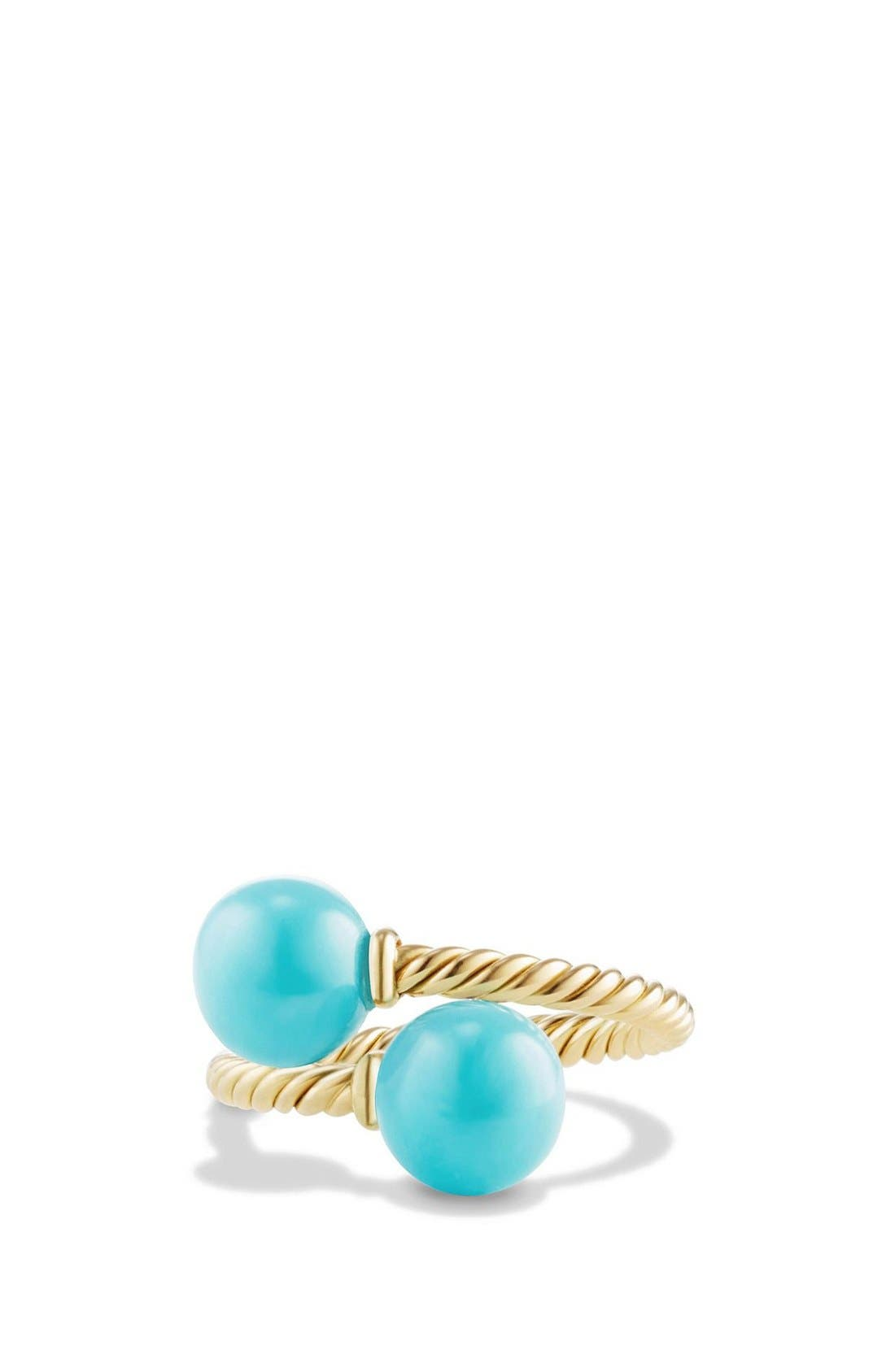 DAVID YURMAN, 'Solari' Bead Ring with Turquoise in 18K Gold, Main thumbnail 1, color, TURQUOISE