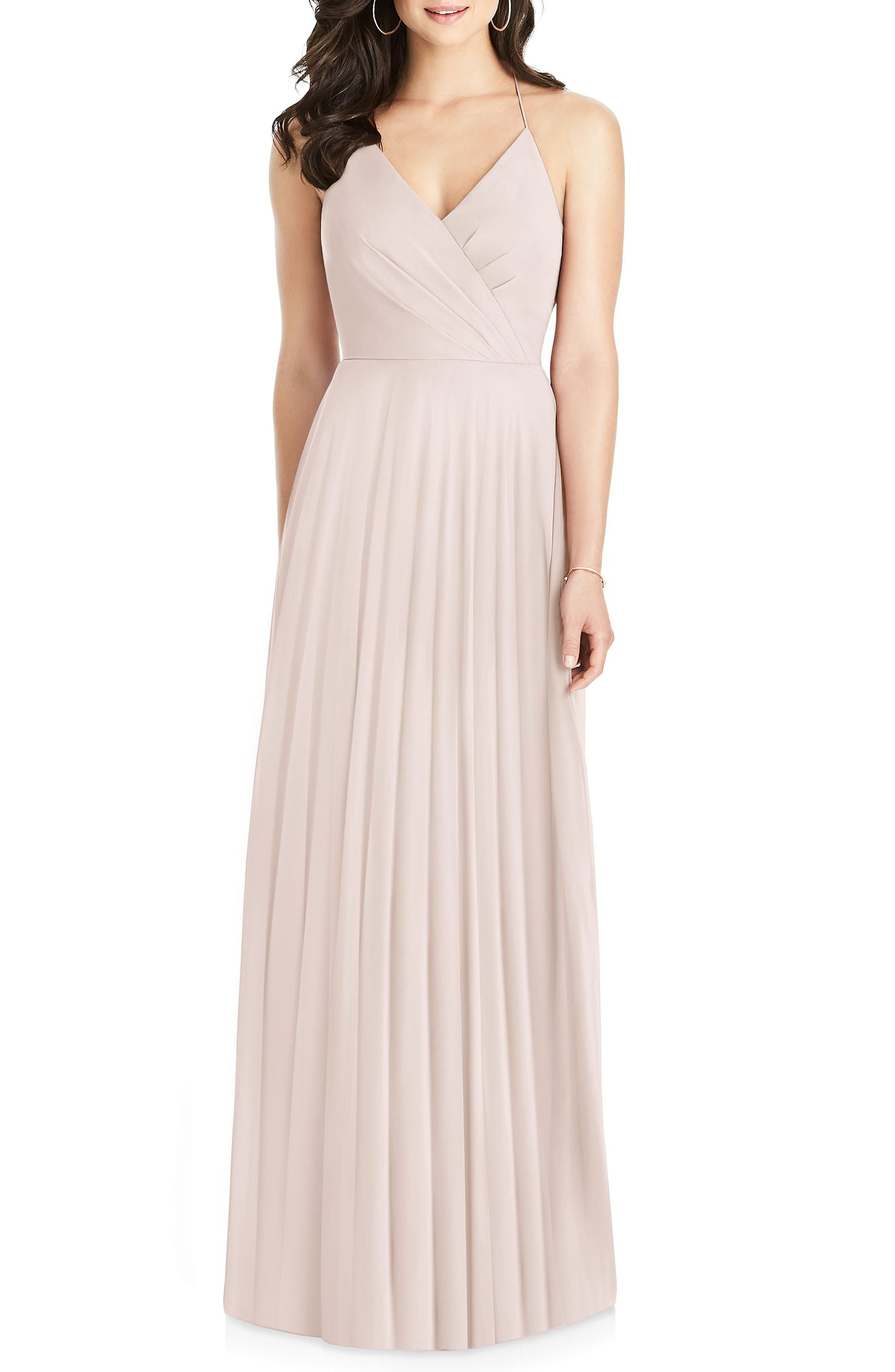 Dessy Collection Ruffle Back Chiffon Gown, Pink