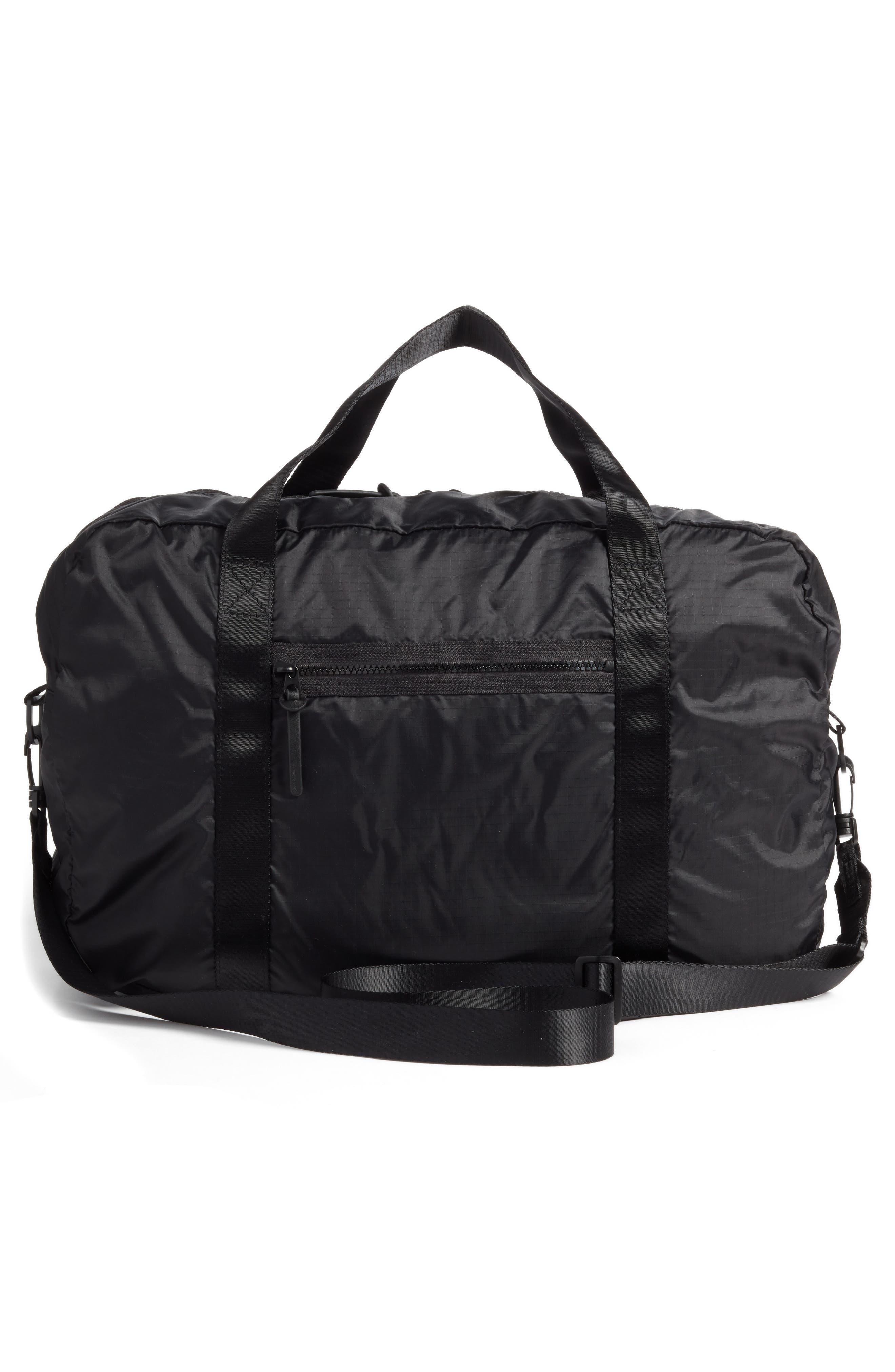 NORDSTROM, Packable Nylon Duffel Bag, Alternate thumbnail 4, color, BLACK