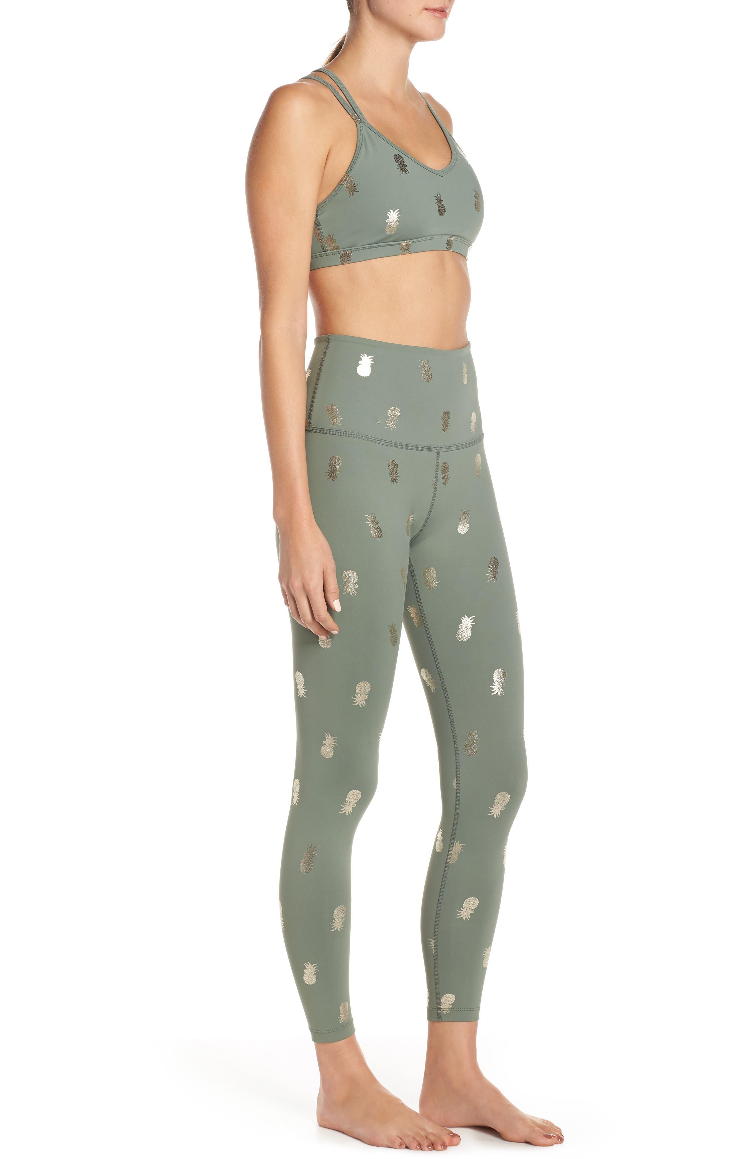 BEYOND YOGA, Pineapple Midi Leggings, Alternate thumbnail 10, color, ALOHA GREEN PINEAPPLES