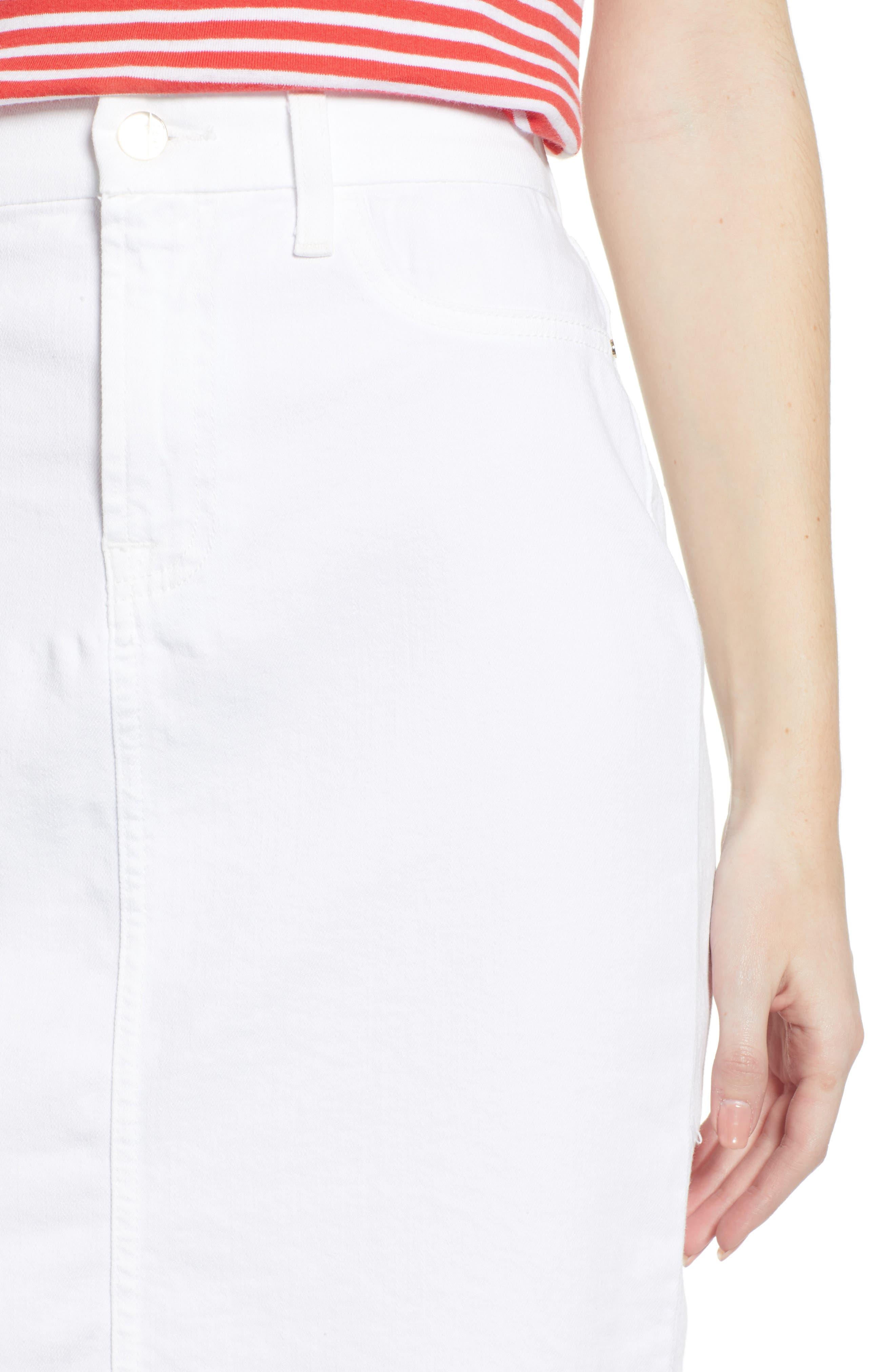 JEN7 BY 7 FOR ALL MANKIND, Frayed Hem Denim Pencil Skirt, Alternate thumbnail 5, color, WHITE