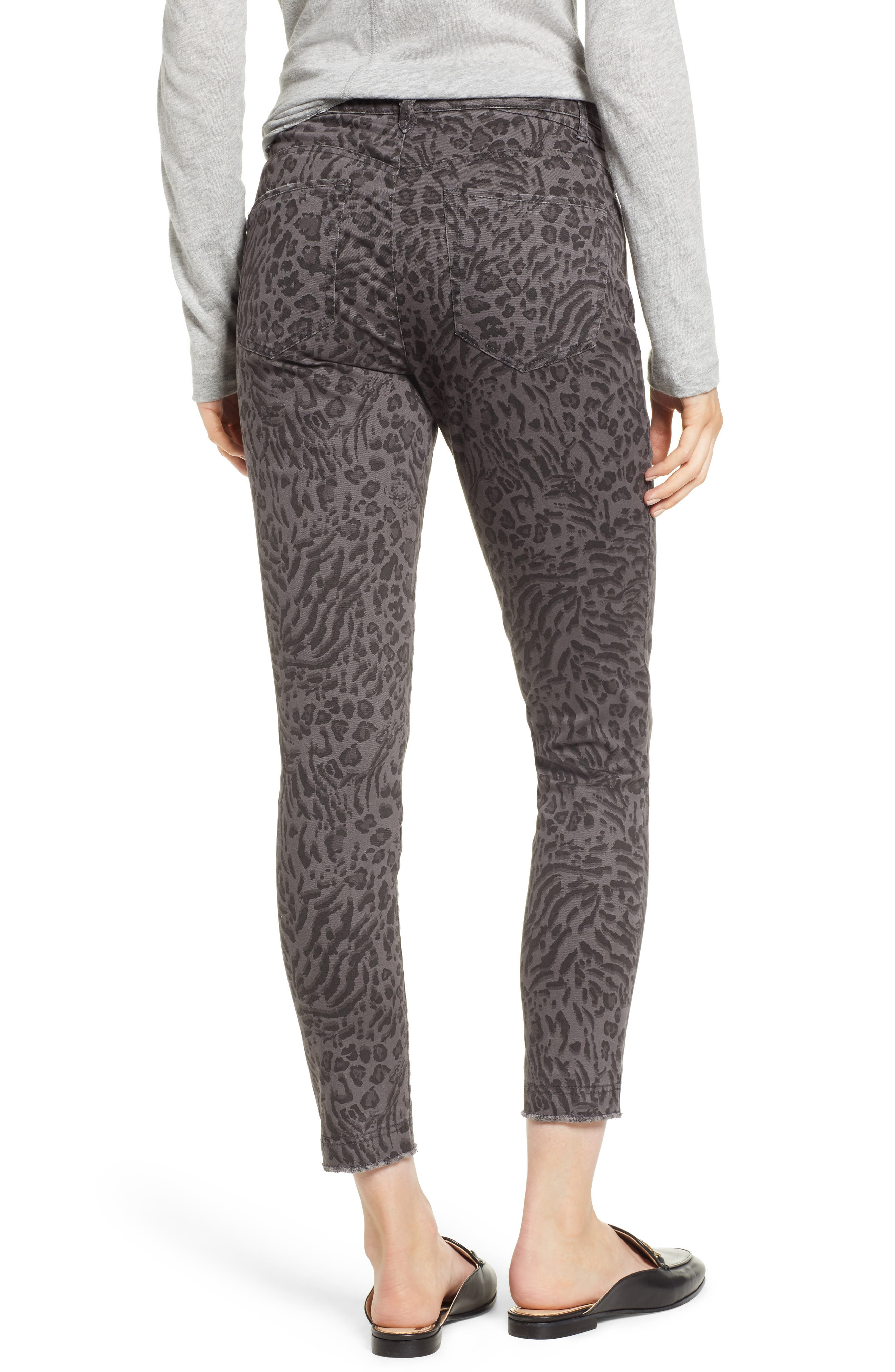 WIT & WISDOM, Ab-Solution Leopard Print High Waist Skinny Jeans, Alternate thumbnail 2, color, CHARCOAL