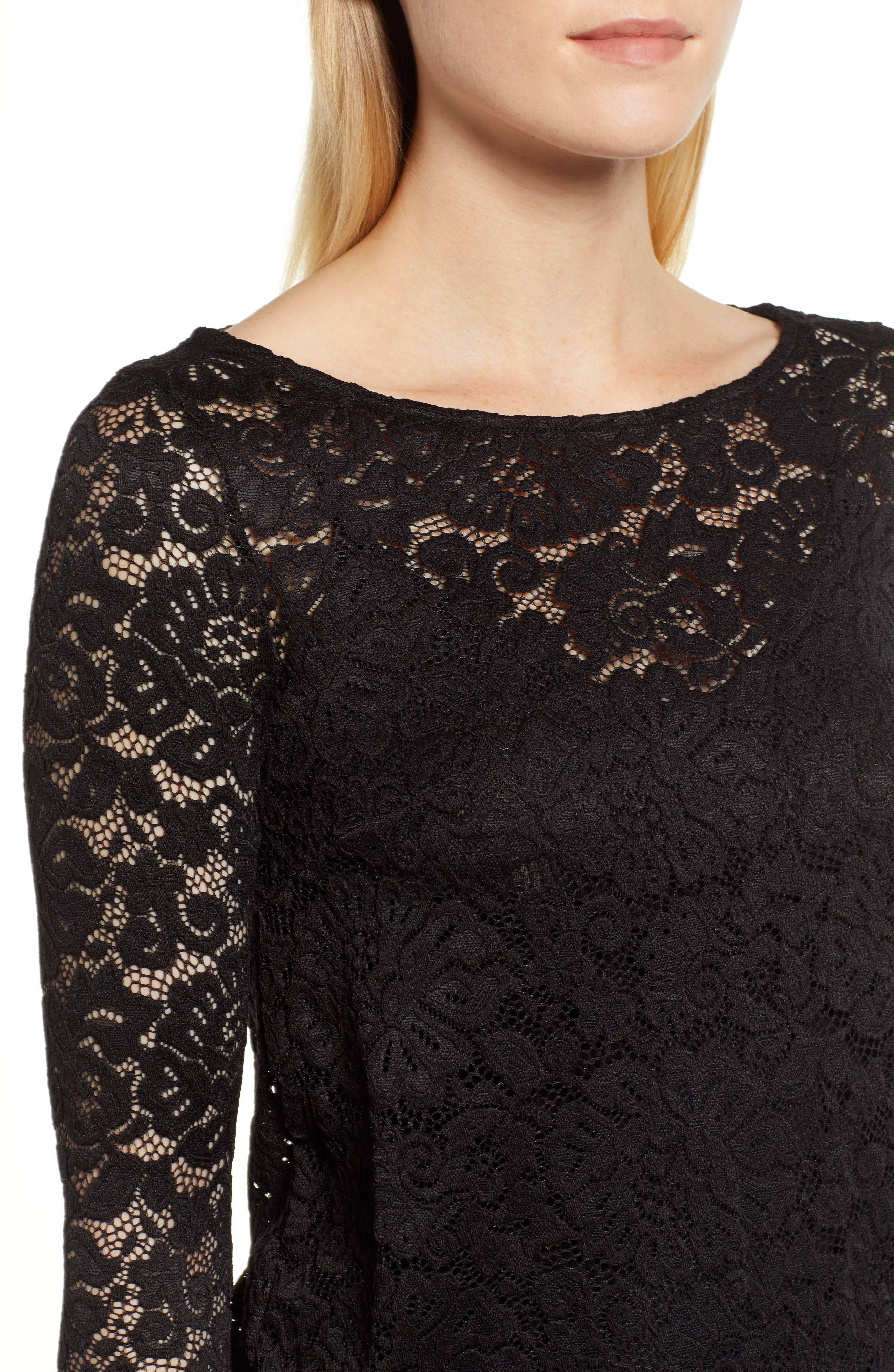 ROSEMUNDE, Filipa Lace Blouse, Alternate thumbnail 4, color, BLACK