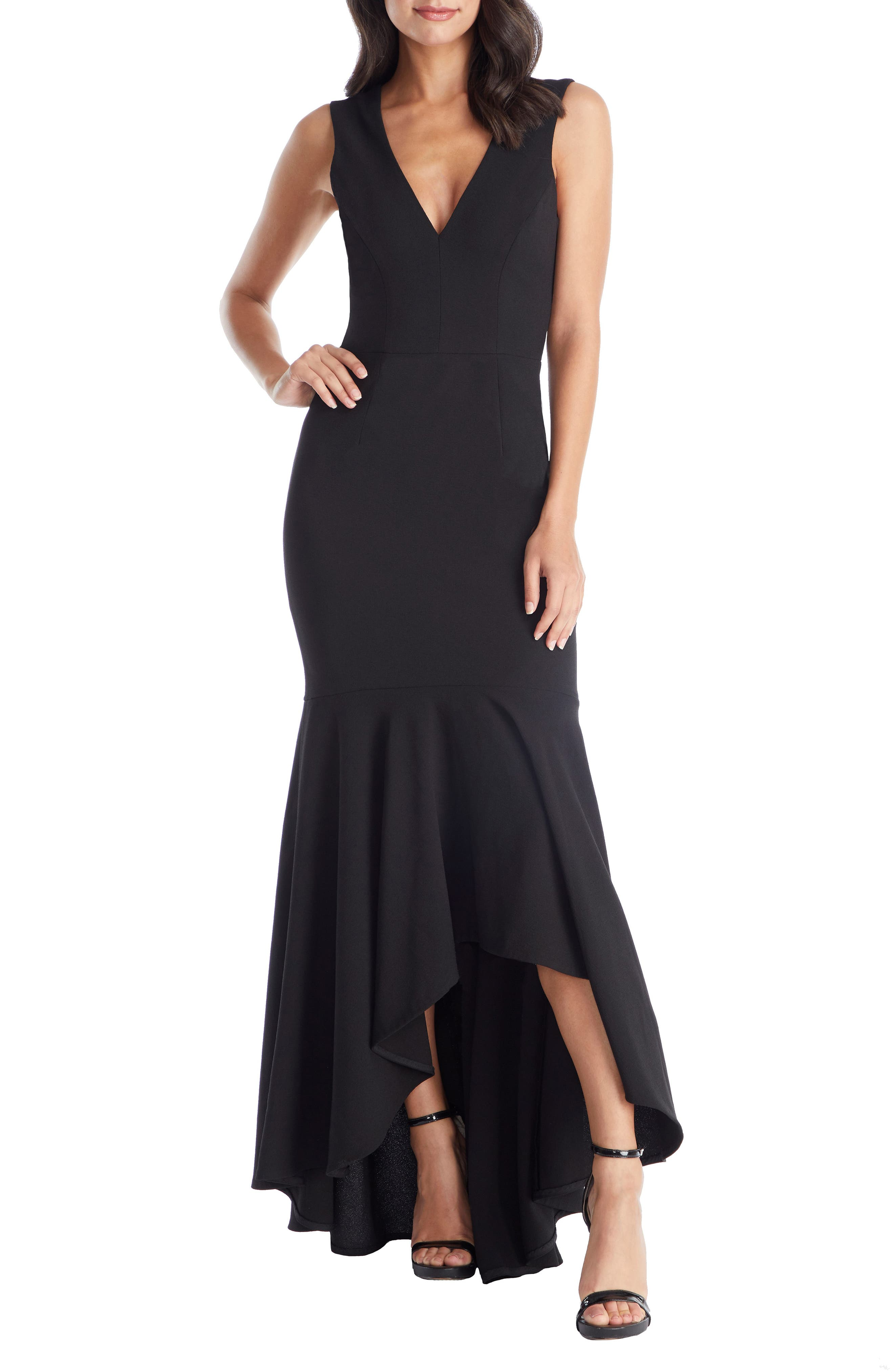 DRESS THE POPULATION, Demi High/Low Mermaid Hem Evening Dress, Main thumbnail 1, color, BLACK