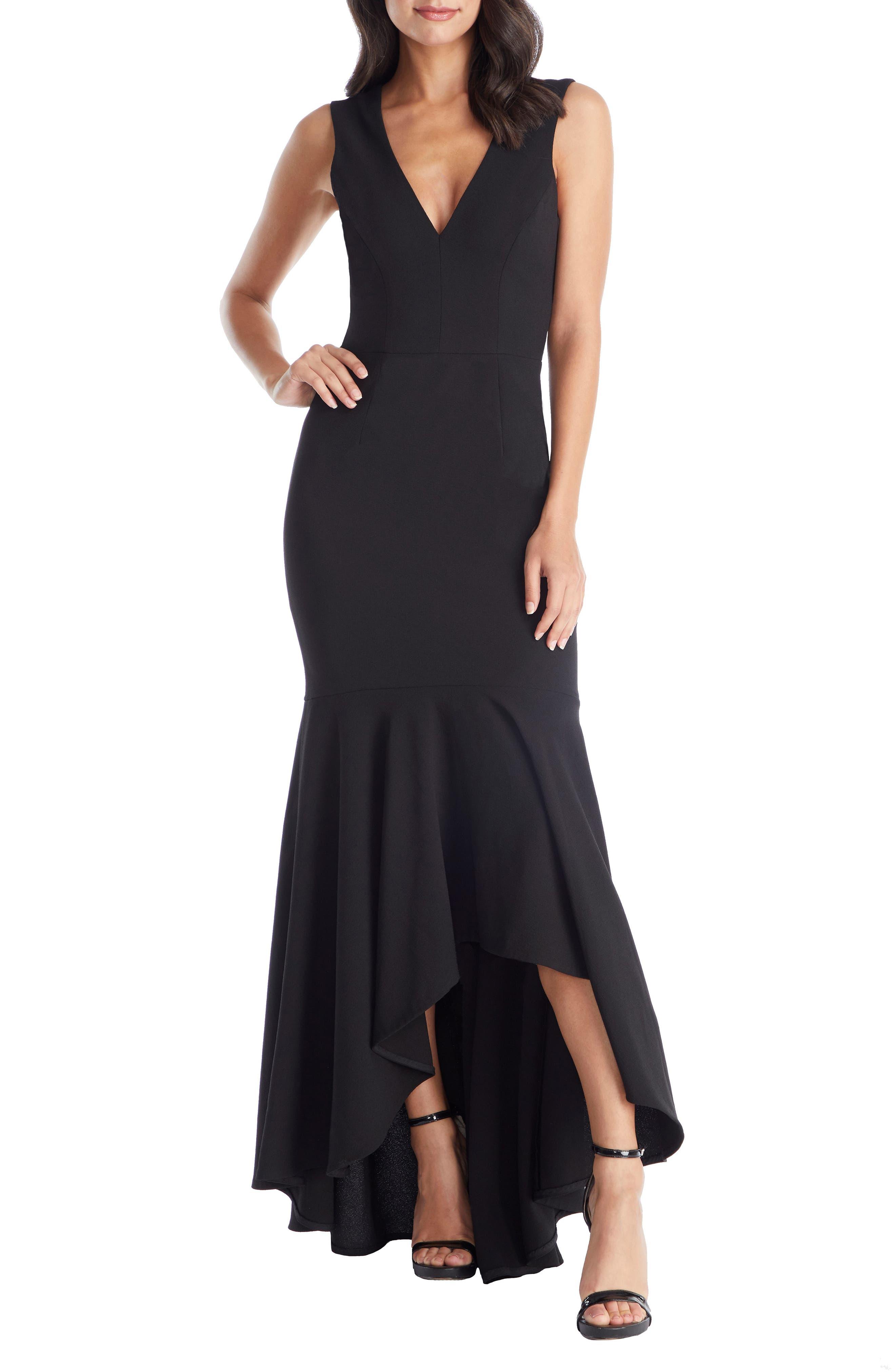 DRESS THE POPULATION Demi High/Low Mermaid Hem Evening Dress, Main, color, BLACK
