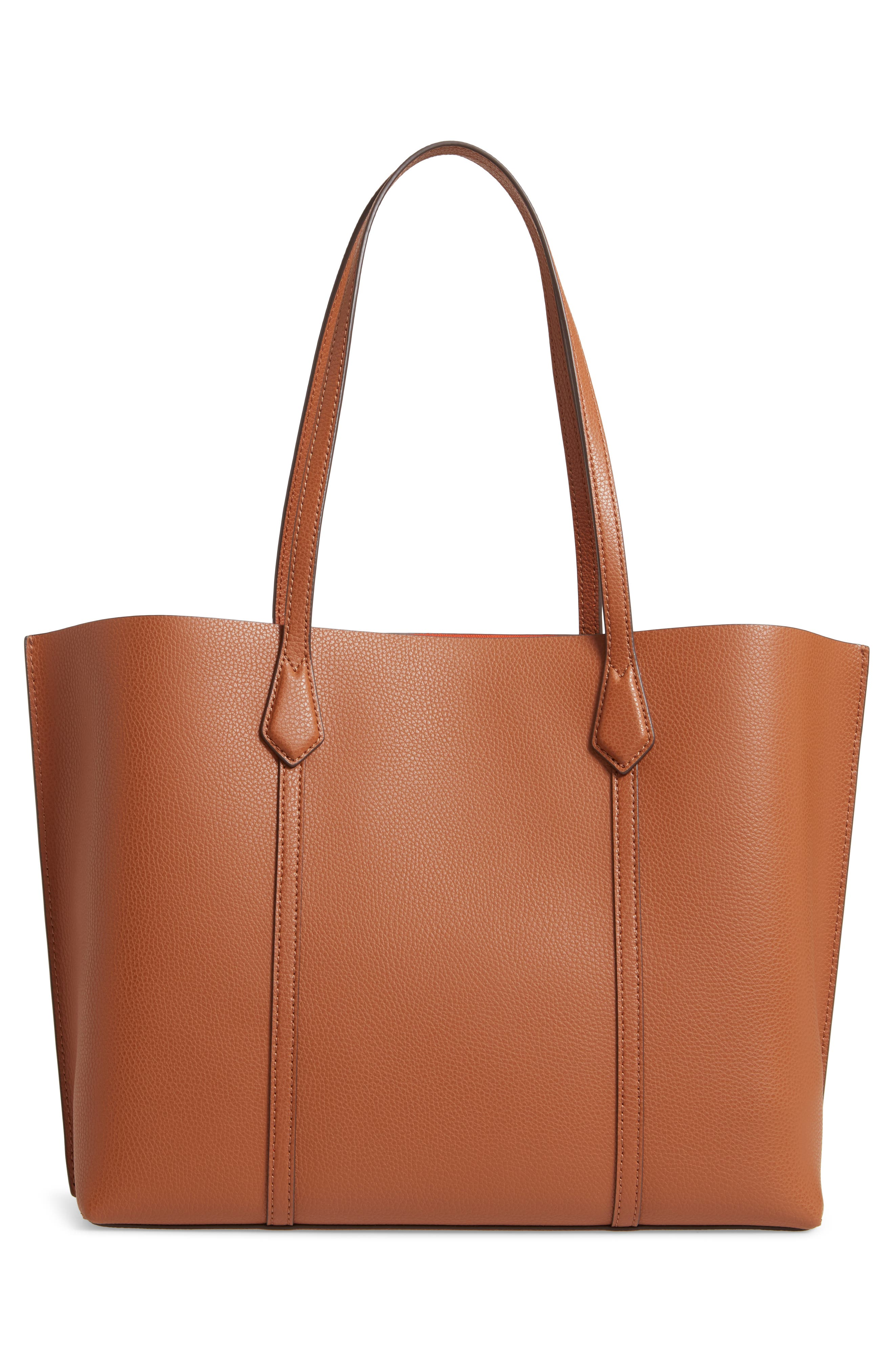 TORY BURCH, Perry Leather 13-Inch Laptop Tote, Alternate thumbnail 4, color, LIGHT UMBER