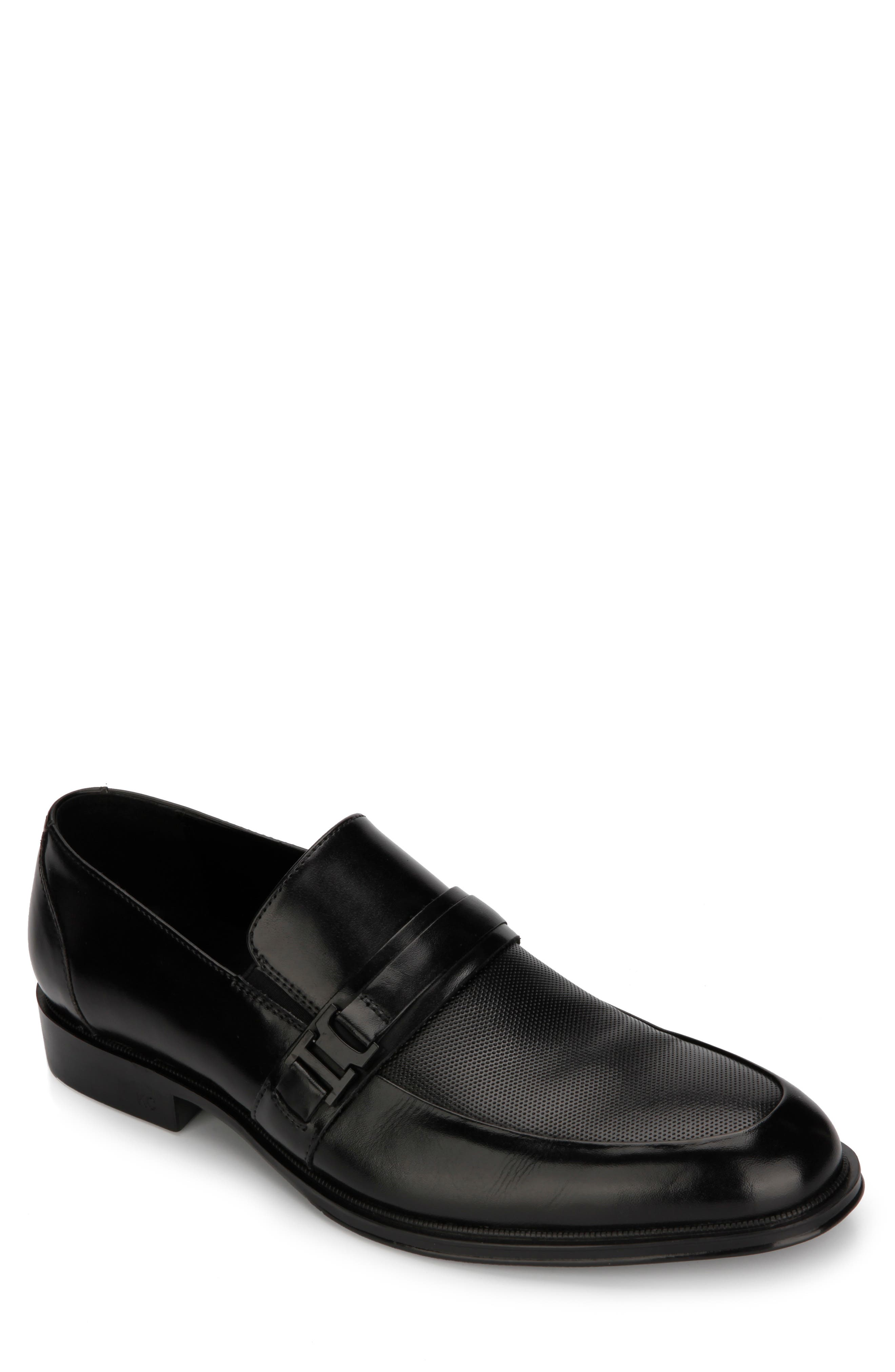 REACTION KENNETH COLE Zac Embossed Slip-On, Main, color, BLACK