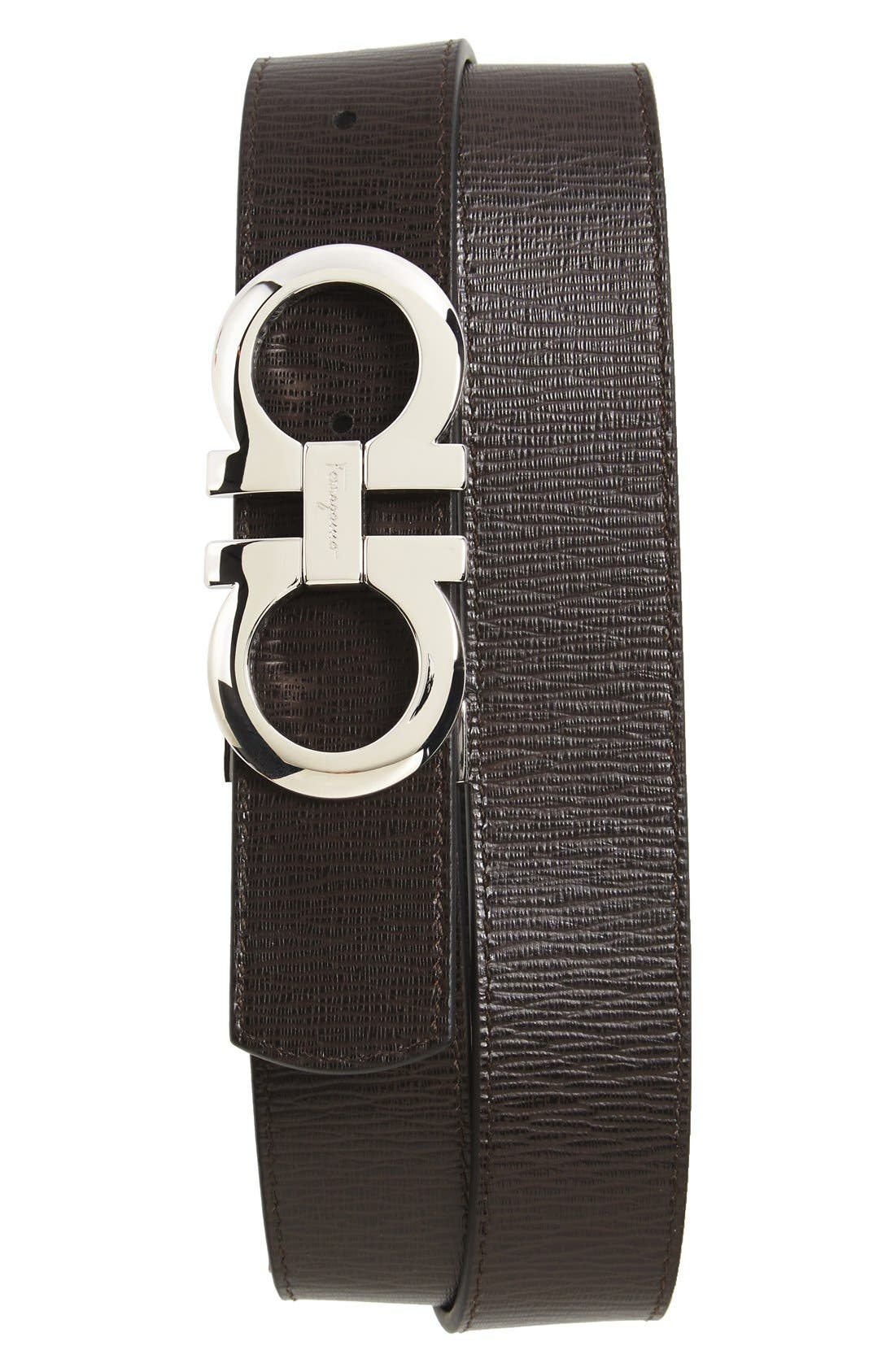 SALVATORE FERRAGAMO, Revival Reversible Leather Belt, Alternate thumbnail 2, color, BLACK/BROWN