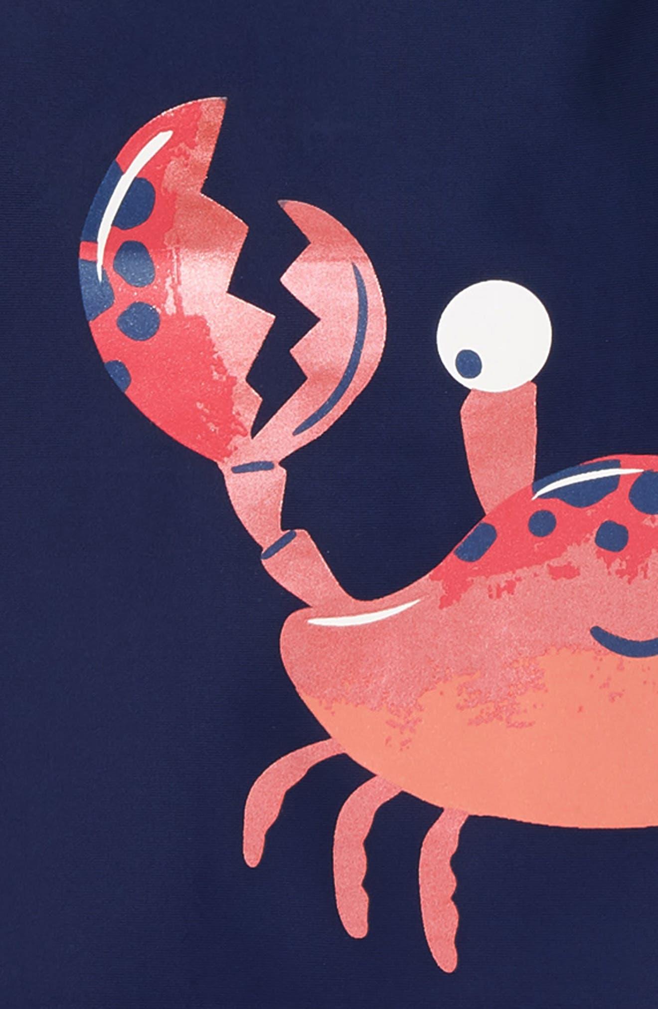 HATLEY, Silly Crustaceans Rashguard & Swim Trunks Set, Alternate thumbnail 2, color, BLUE