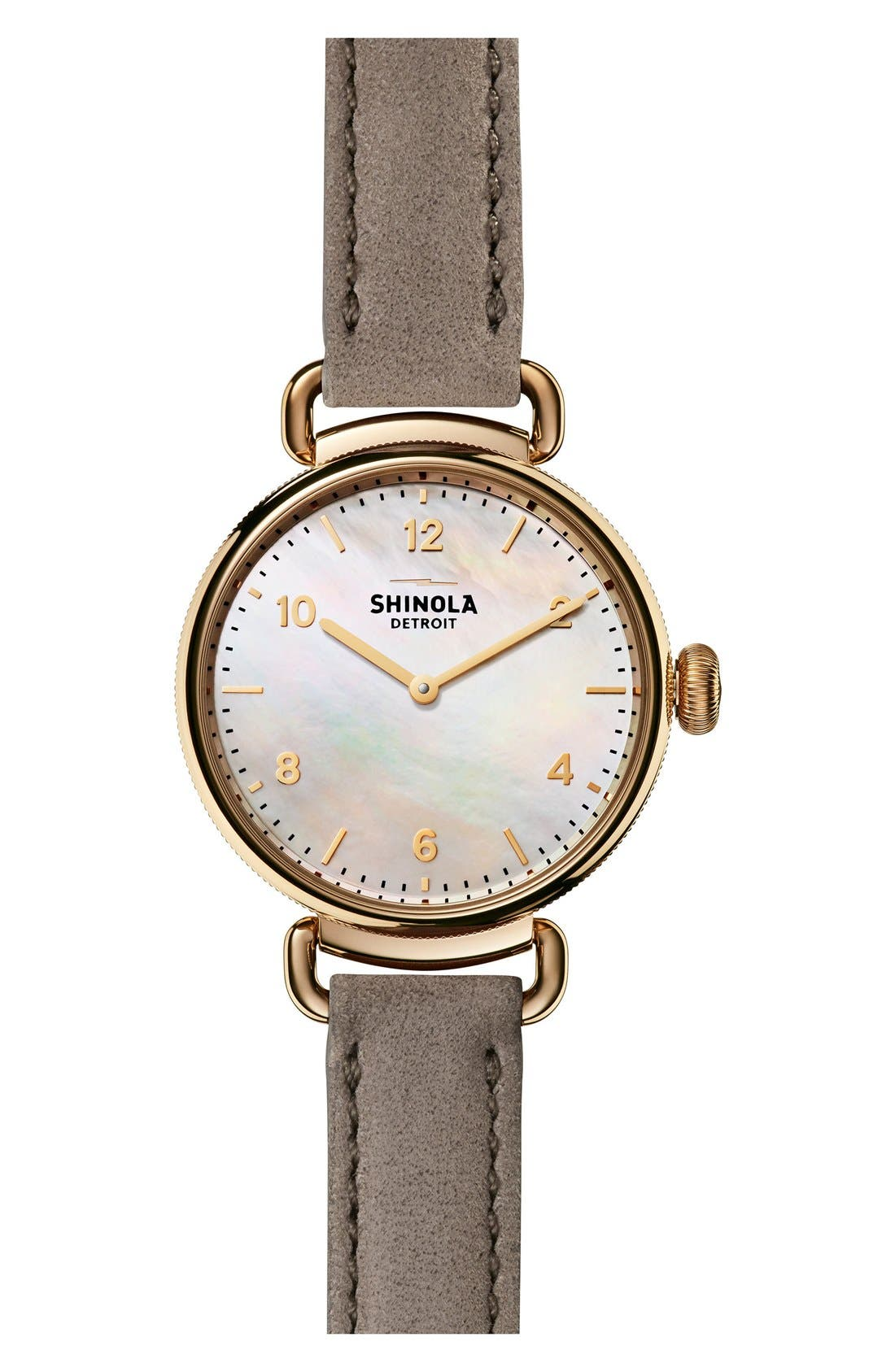 SHINOLA Canfield Leather Strap Watch, 32mm, Main, color, GREY/ WHITE MOTHER OF PEARL