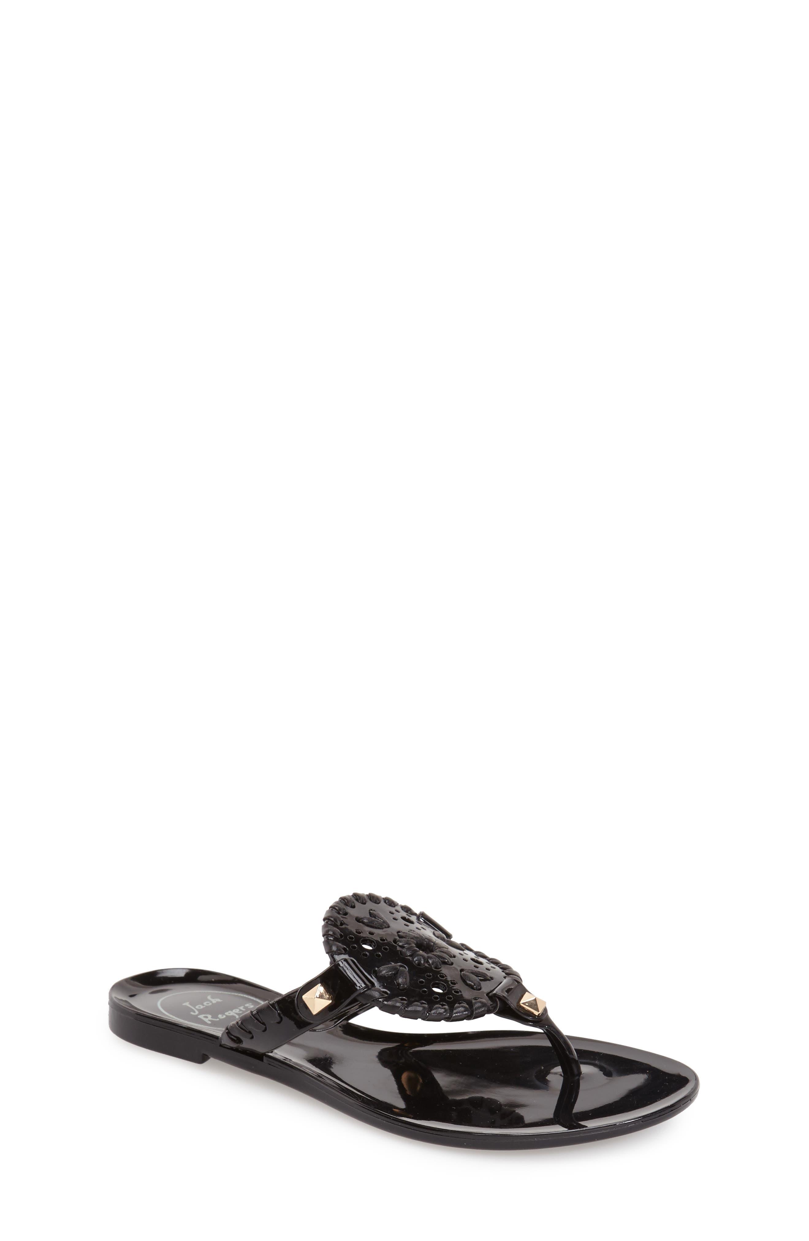 JACK ROGERS 'Miss Georgica' Jelly Flip Flop, Main, color, BLACK