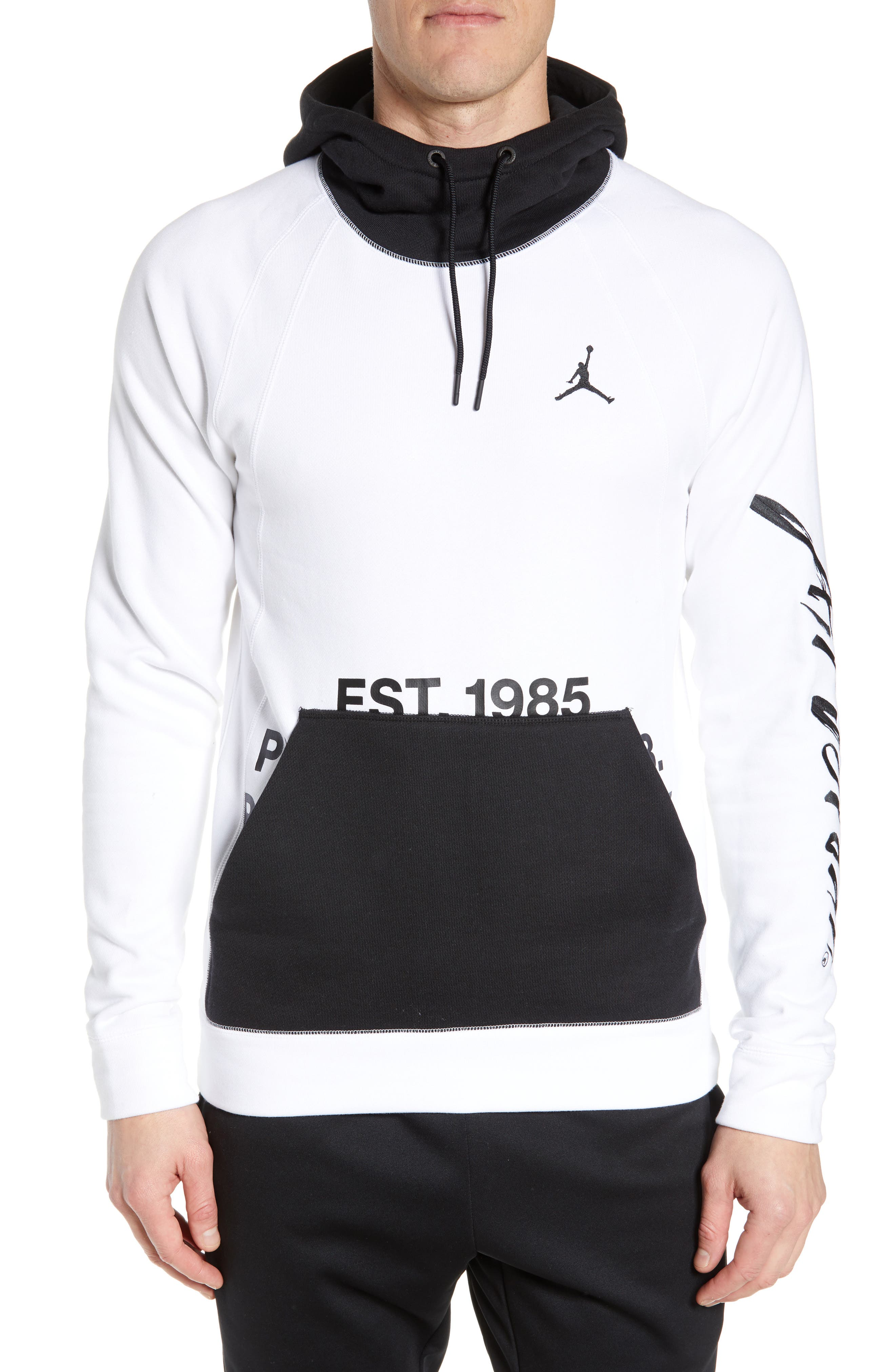 JORDAN, Sportswear Greatest Fleece Pullover Hoodie, Main thumbnail 1, color, WHITE/ BLACK