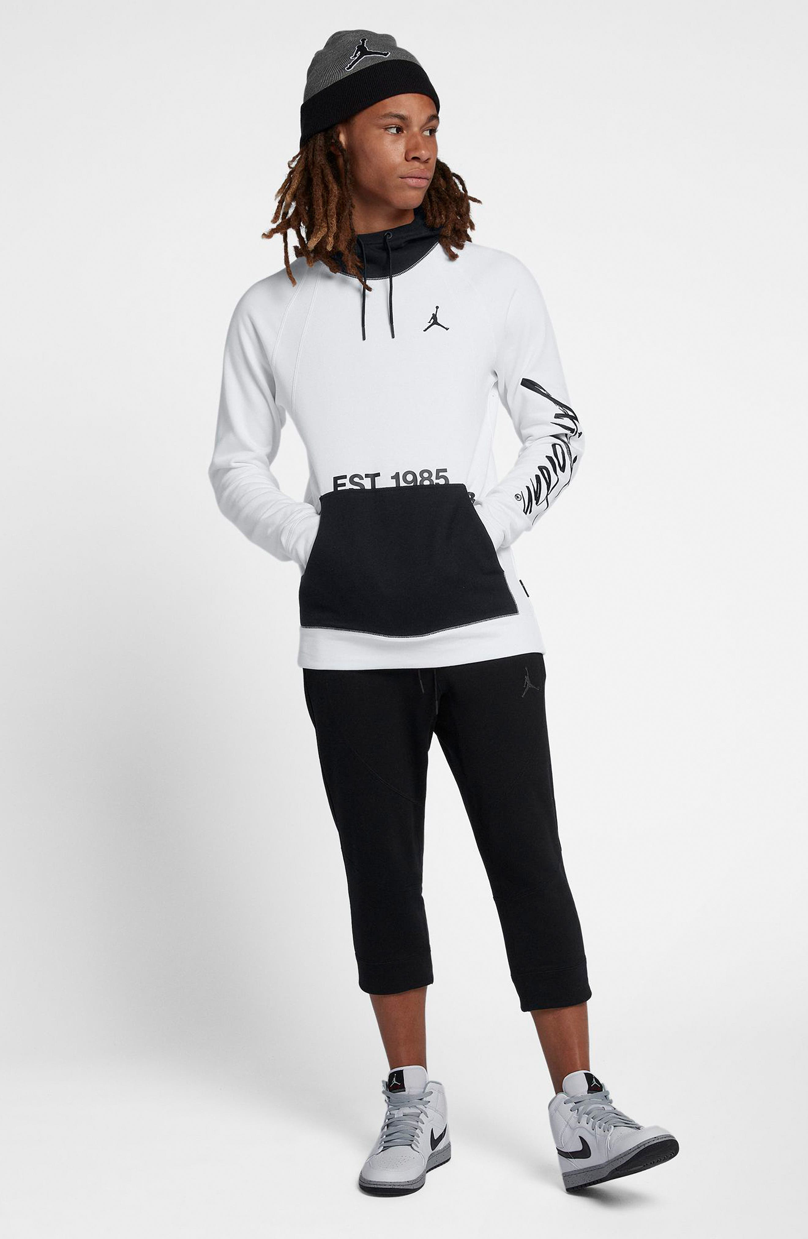 JORDAN, Sportswear Greatest Fleece Pullover Hoodie, Alternate thumbnail 8, color, WHITE/ BLACK
