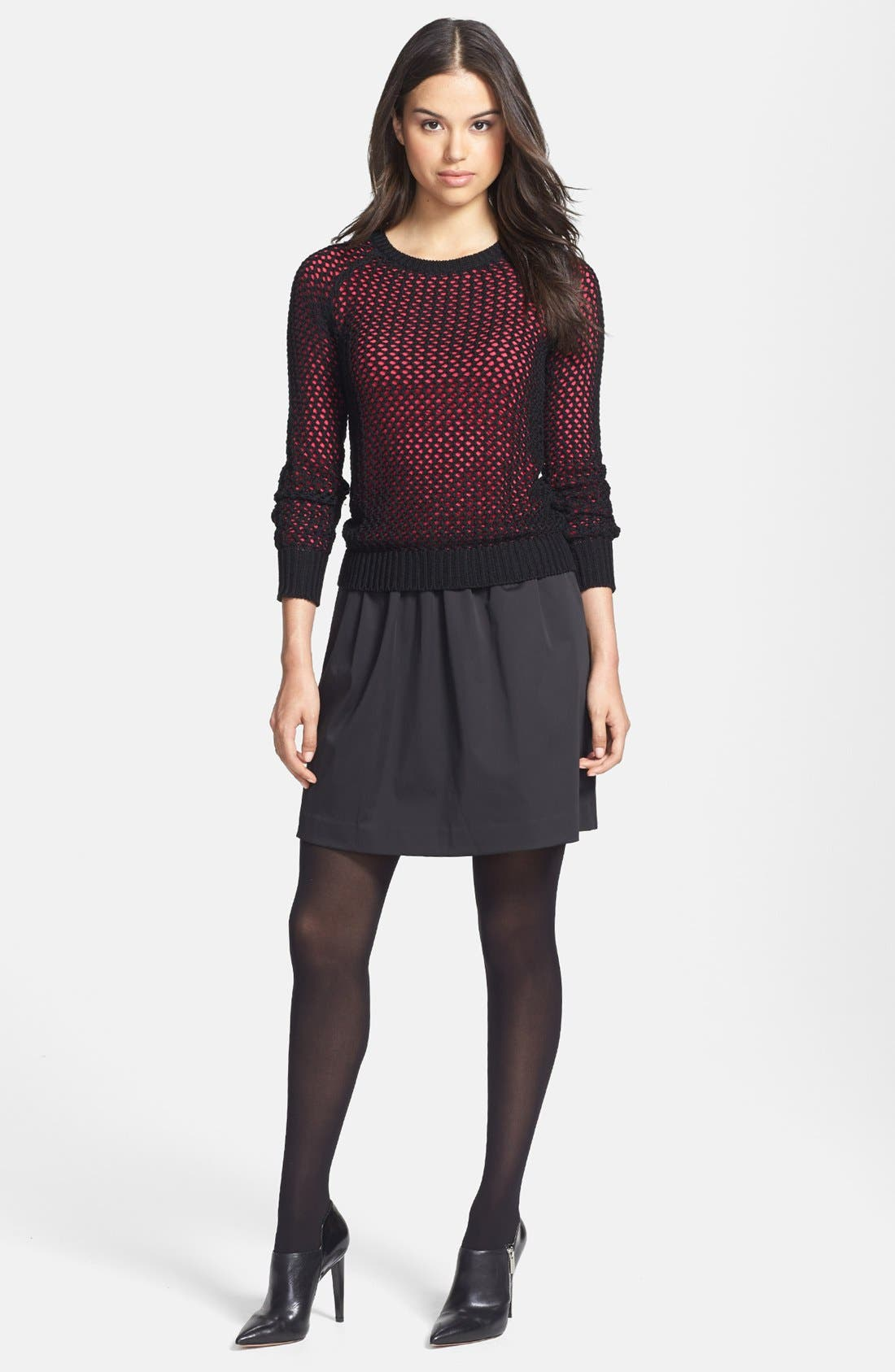 HALOGEN<SUP>®</SUP>, Jacquard Flare Skirt, Alternate thumbnail 2, color, 001