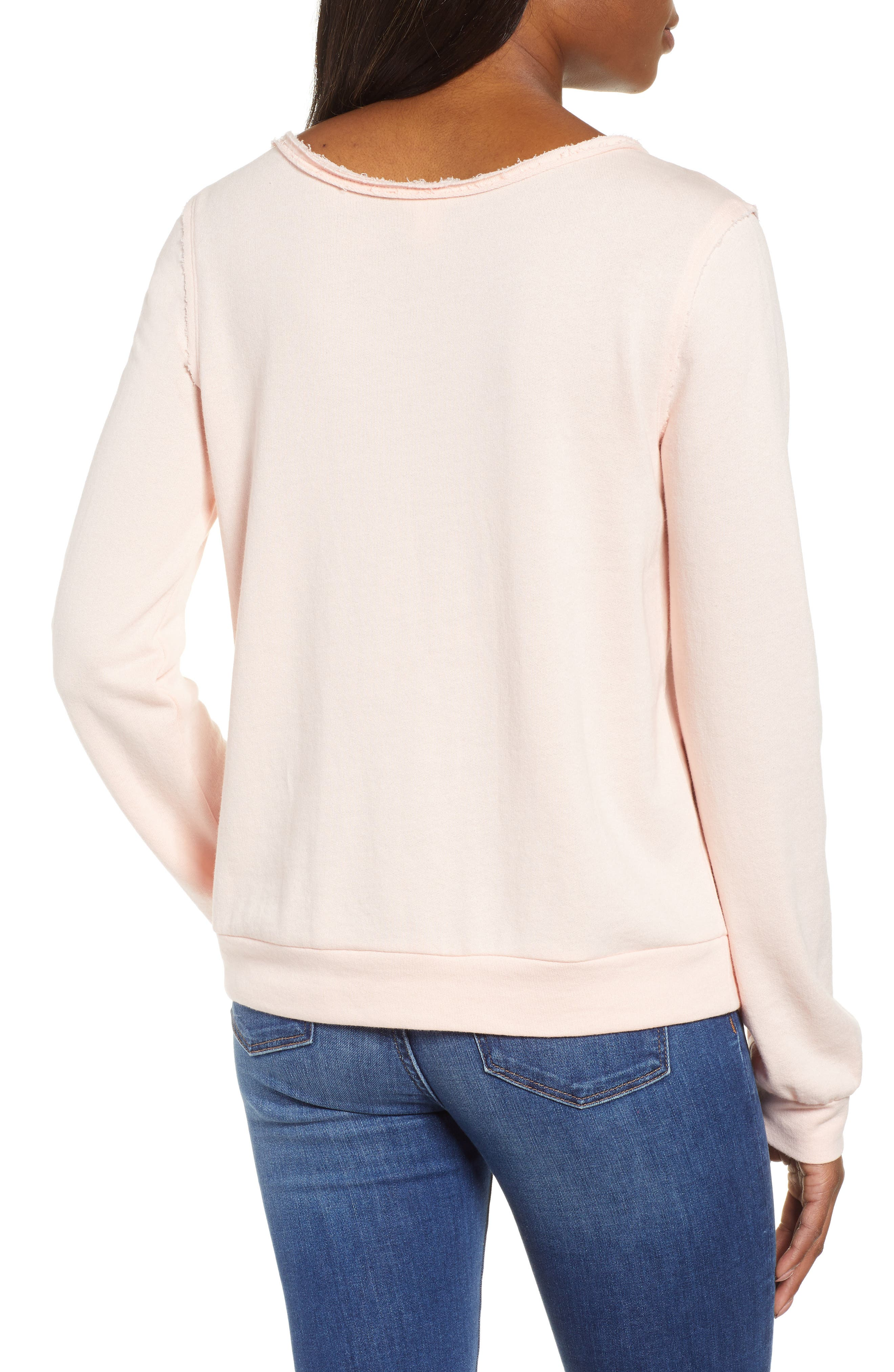 CASLON<SUP>®</SUP>, Embroidered Sweatshirt, Alternate thumbnail 2, color, PINK C EMBROIDERED