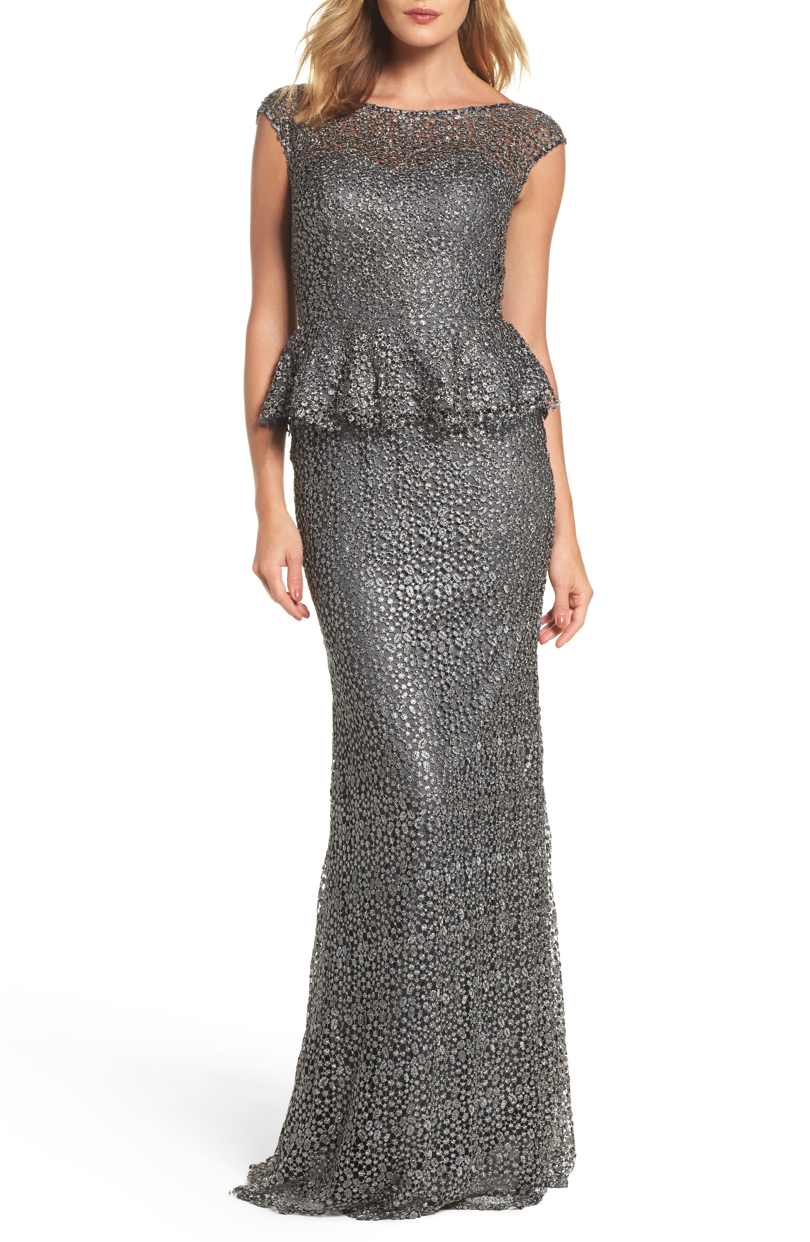 LA FEMME Embellished Lace Peplum Gown, Main, color, GUNMETAL