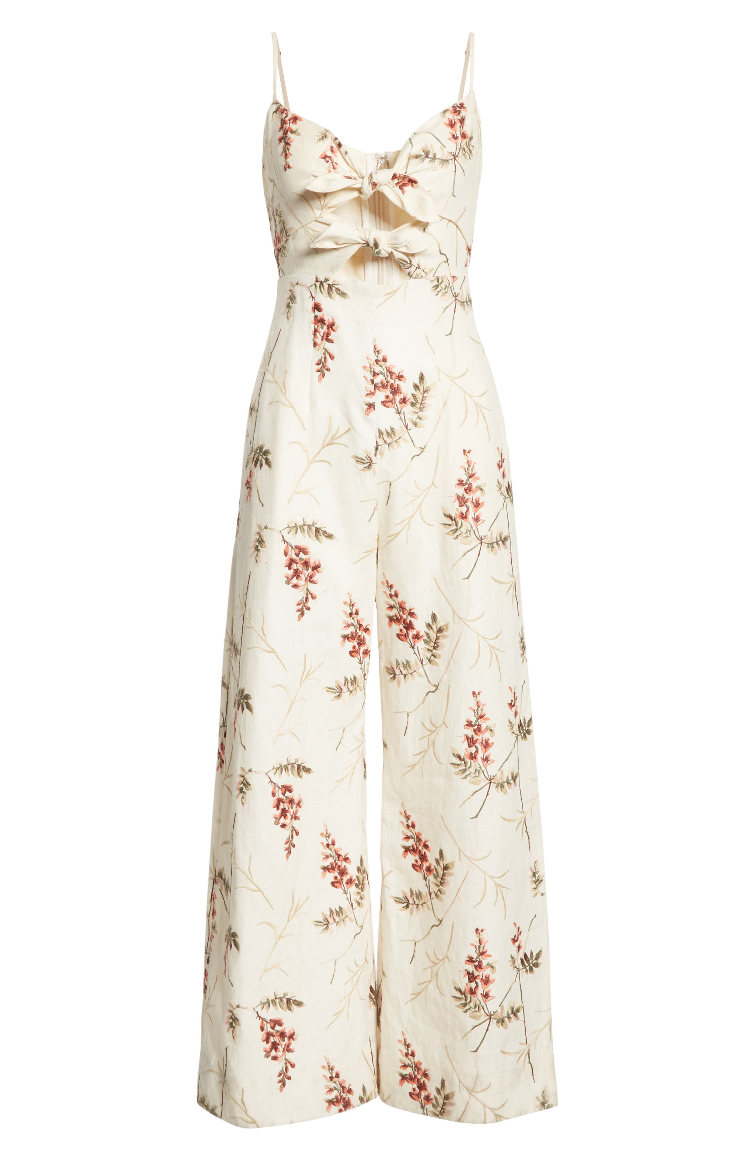 REBECCA TAYLOR, Embroidered Linen Jumpsuit, Alternate thumbnail 7, color, CREAM COMBO