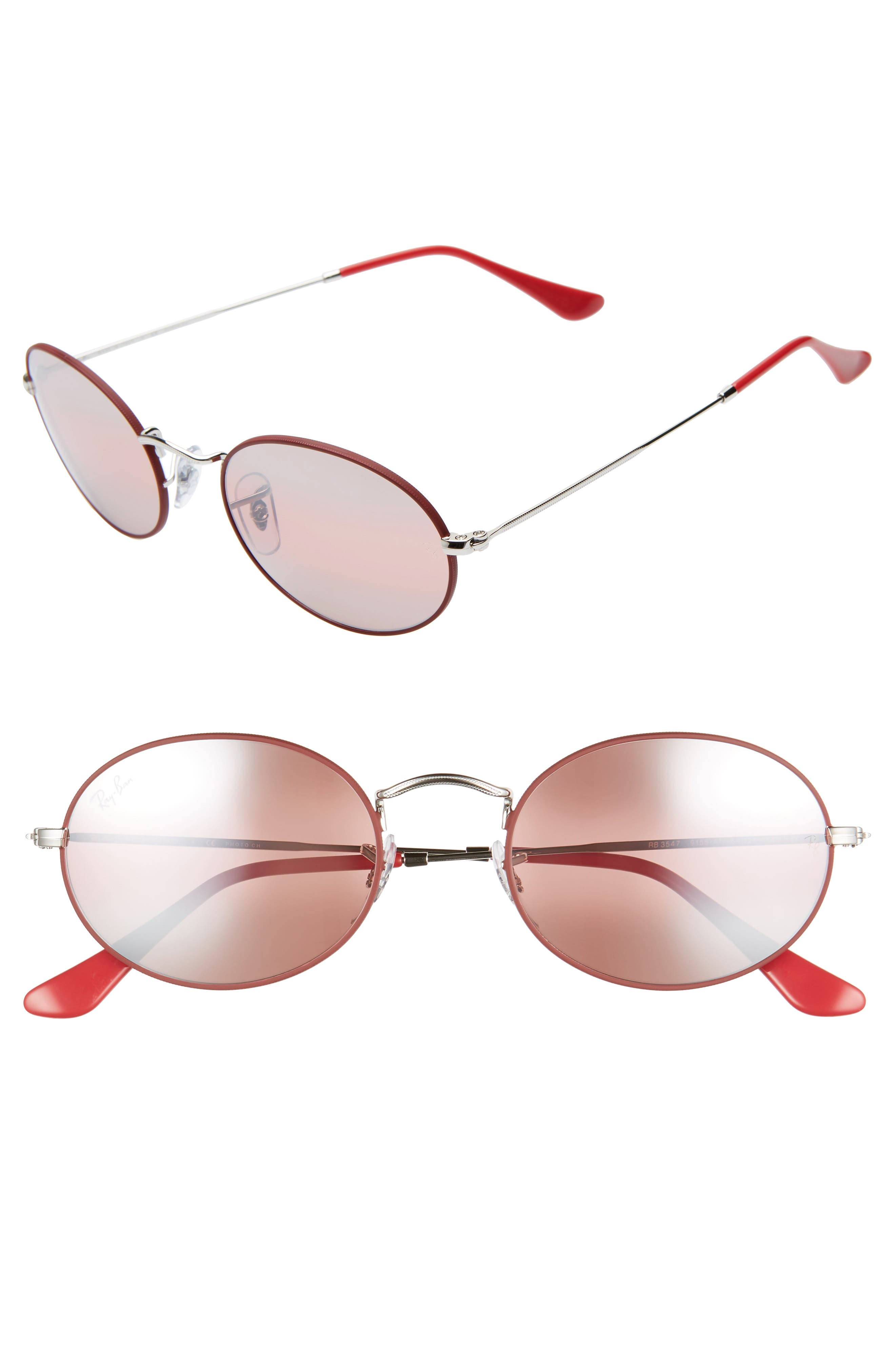 RAY-BAN, 54mm Polarized Oval Sunglasses, Main thumbnail 1, color, RED SILVER