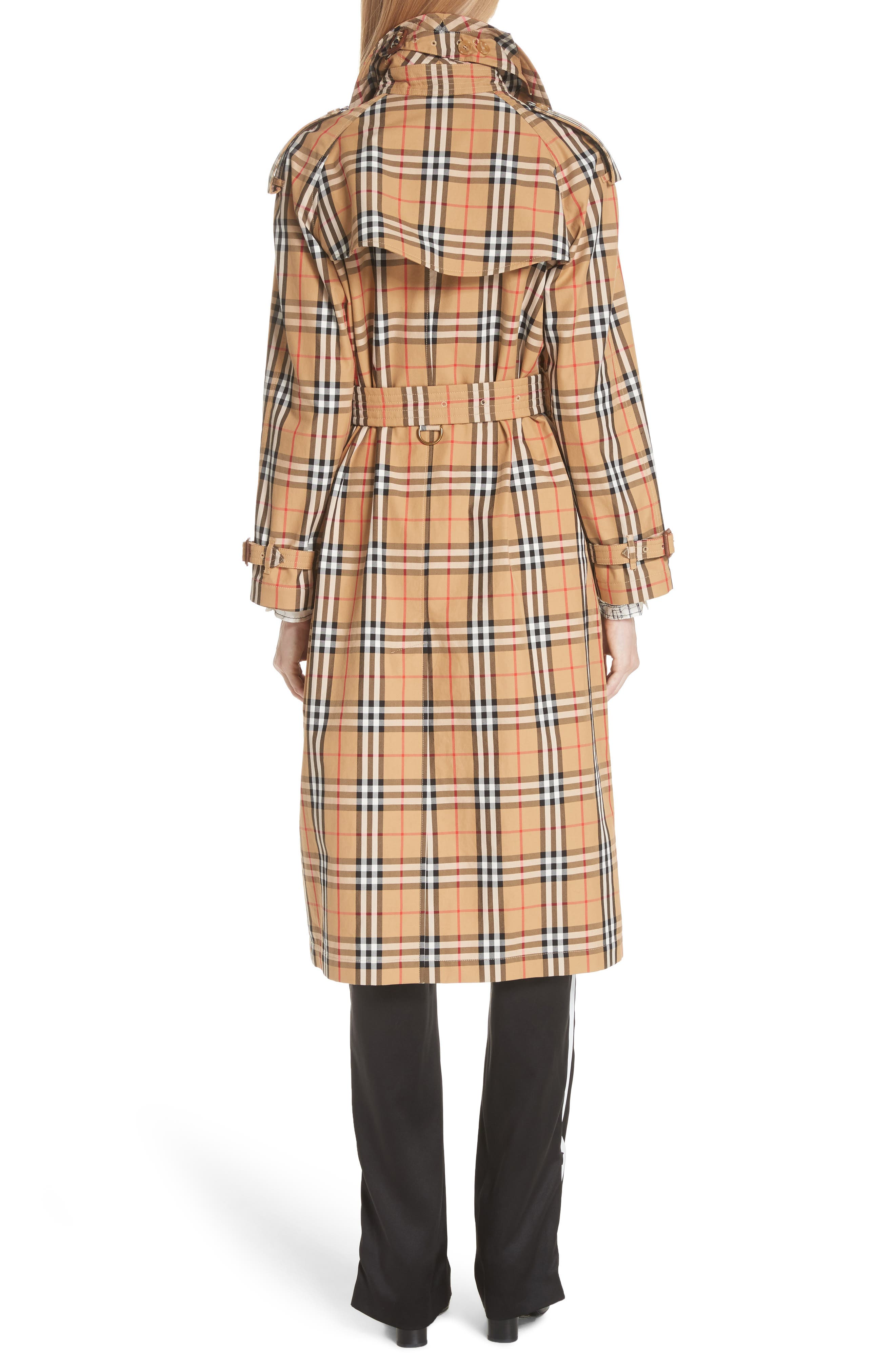 BURBERRY, Eastheath Vintage Check Trench Coat, Alternate thumbnail 2, color, ANTIQUE YELLOW