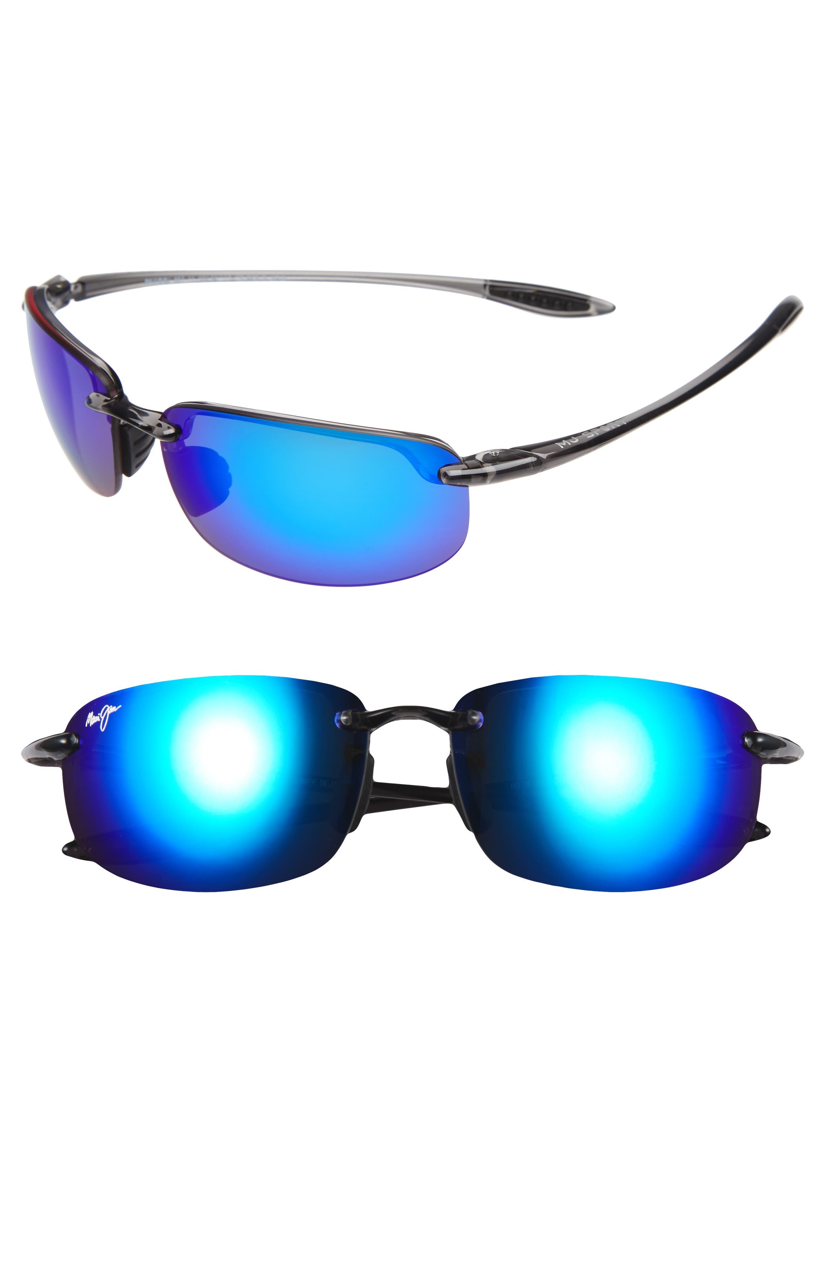 MAUI JIM, 'Ho'okipa - PolarizedPlus<sup>®</sup>2' 63mm Sunglasses, Main thumbnail 1, color, SMOKE GREY/ BLUE HAWAII