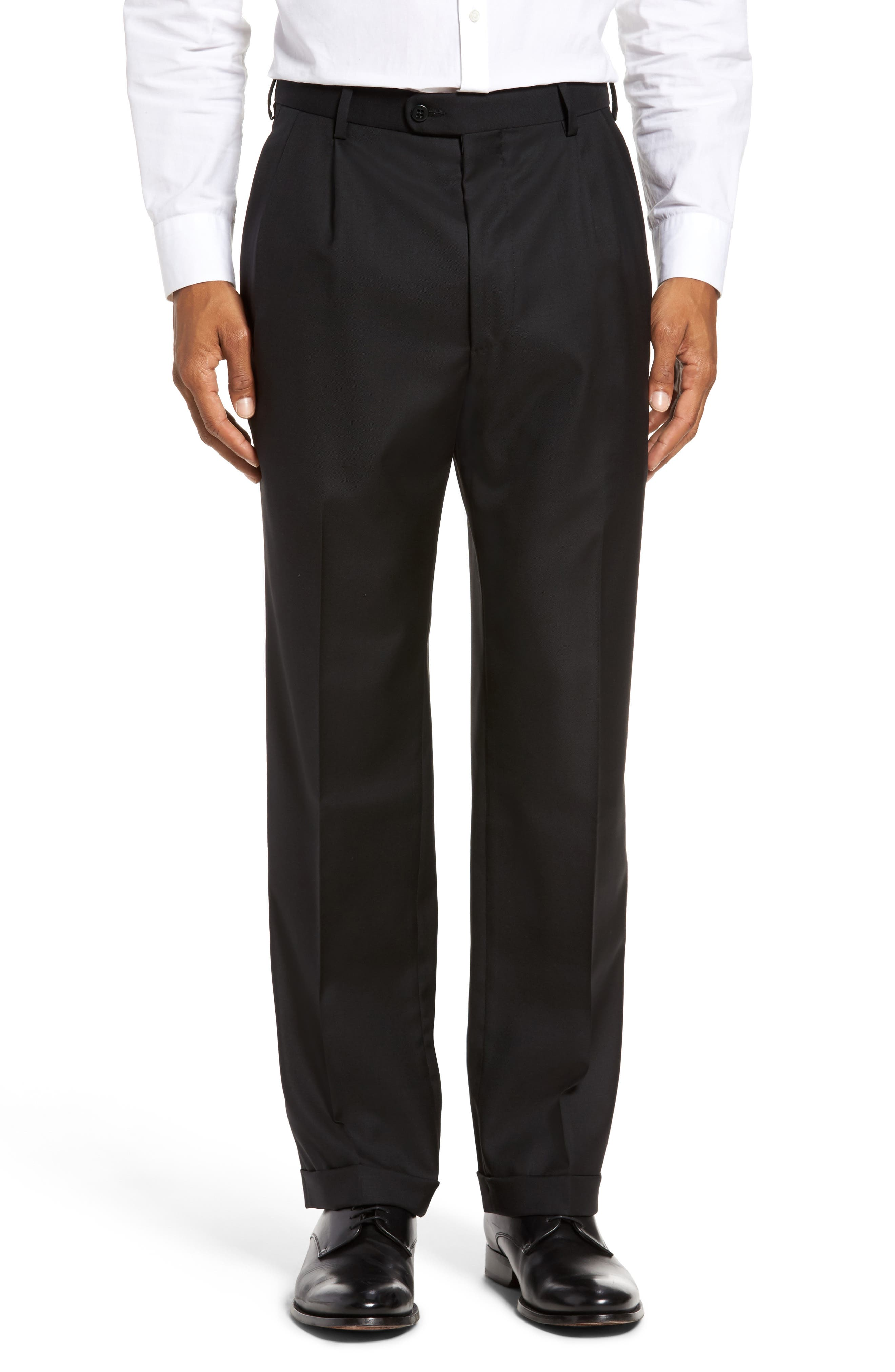 ZANELLA, Bennett Regular Fit Pleated Trousers, Main thumbnail 1, color, BLACK